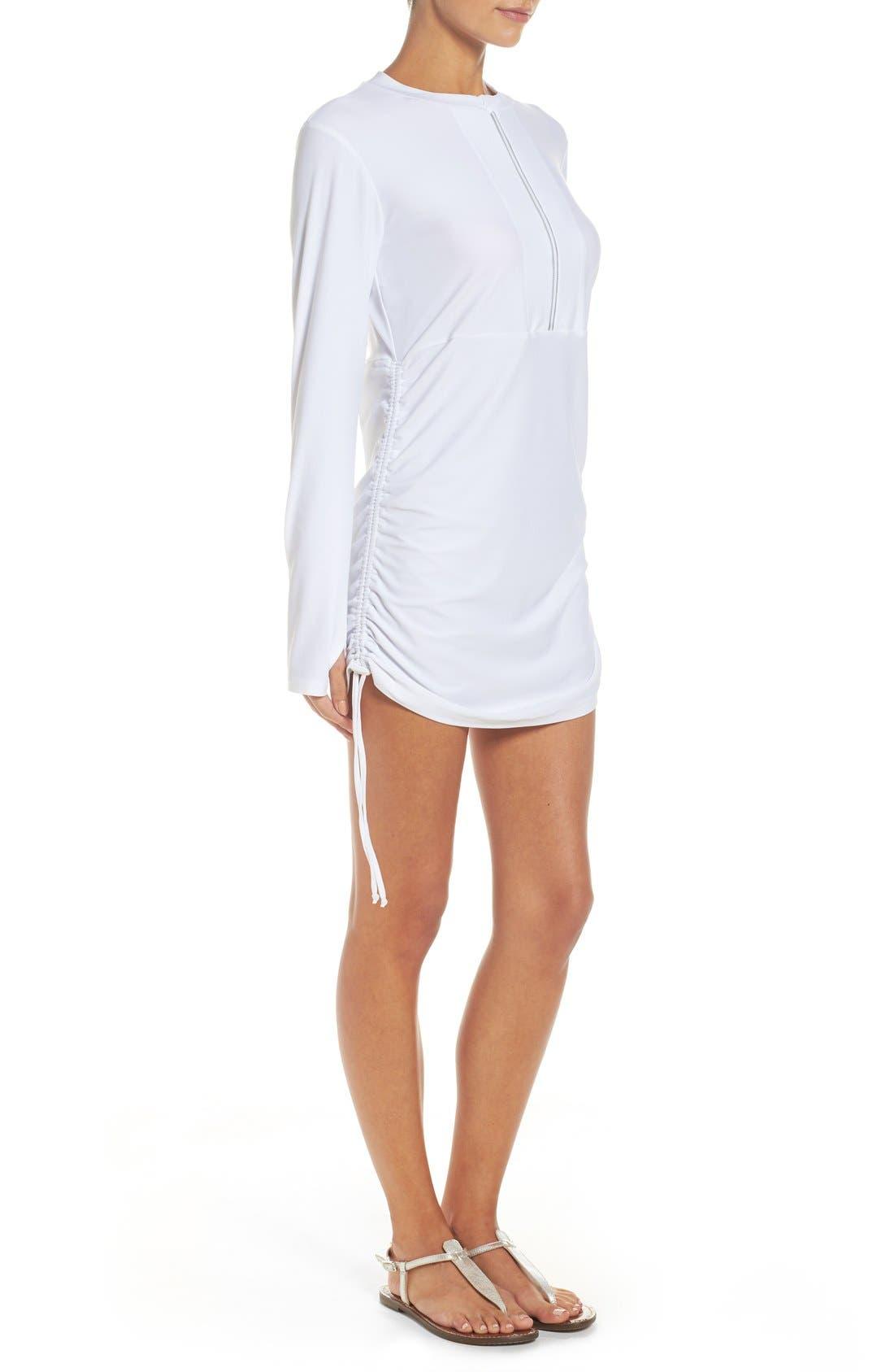 'Sonja' Long Sleeve Half Zip Convertible Swimdress,                             Alternate thumbnail 24, color,
