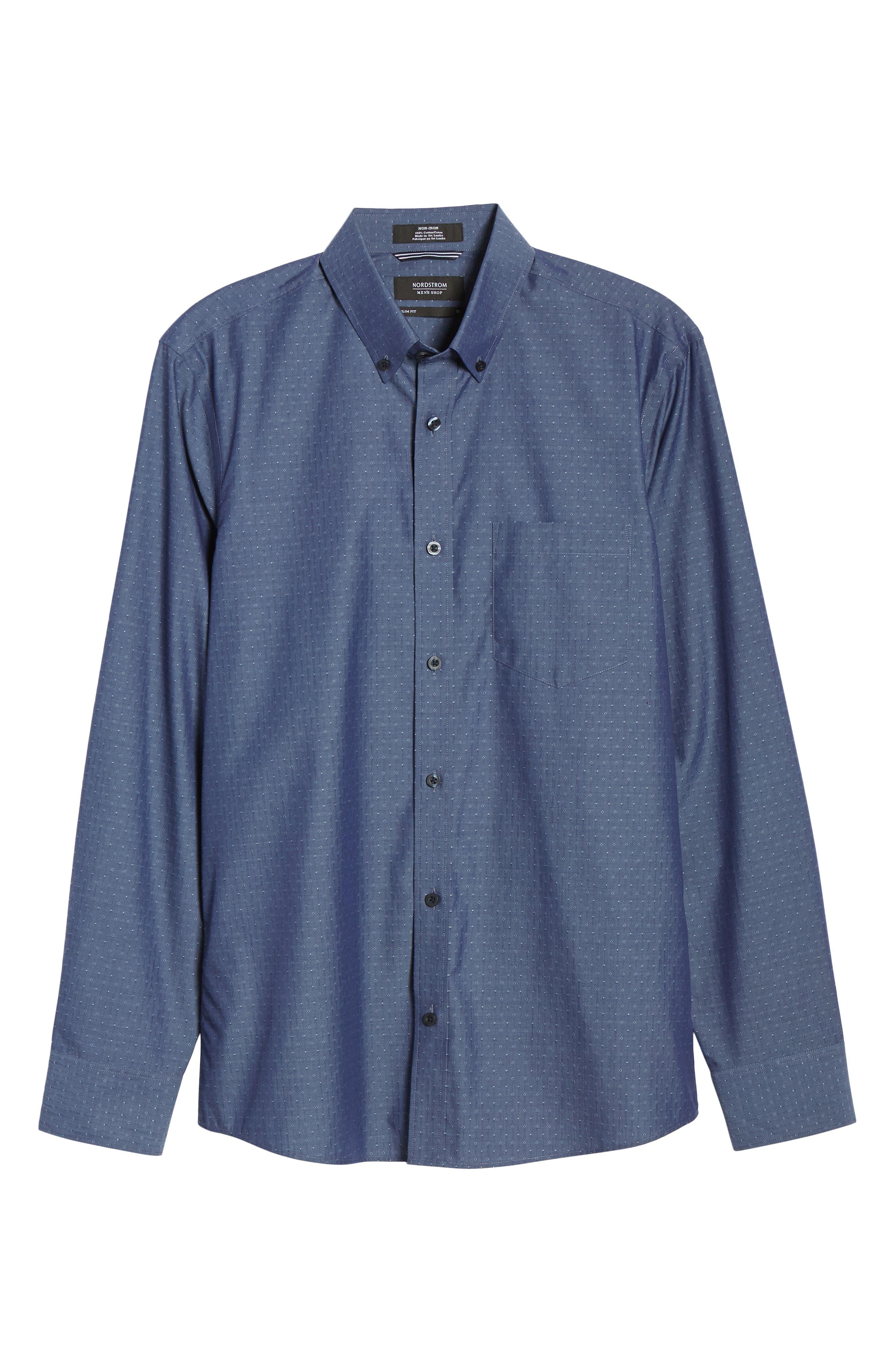 NORDSTROM MEN'S SHOP,                             Regular Fit Non-Iron Dobby Sport Shirt,                             Alternate thumbnail 5, color,                             NAVY PEACOAT DIAMOND DOBBY
