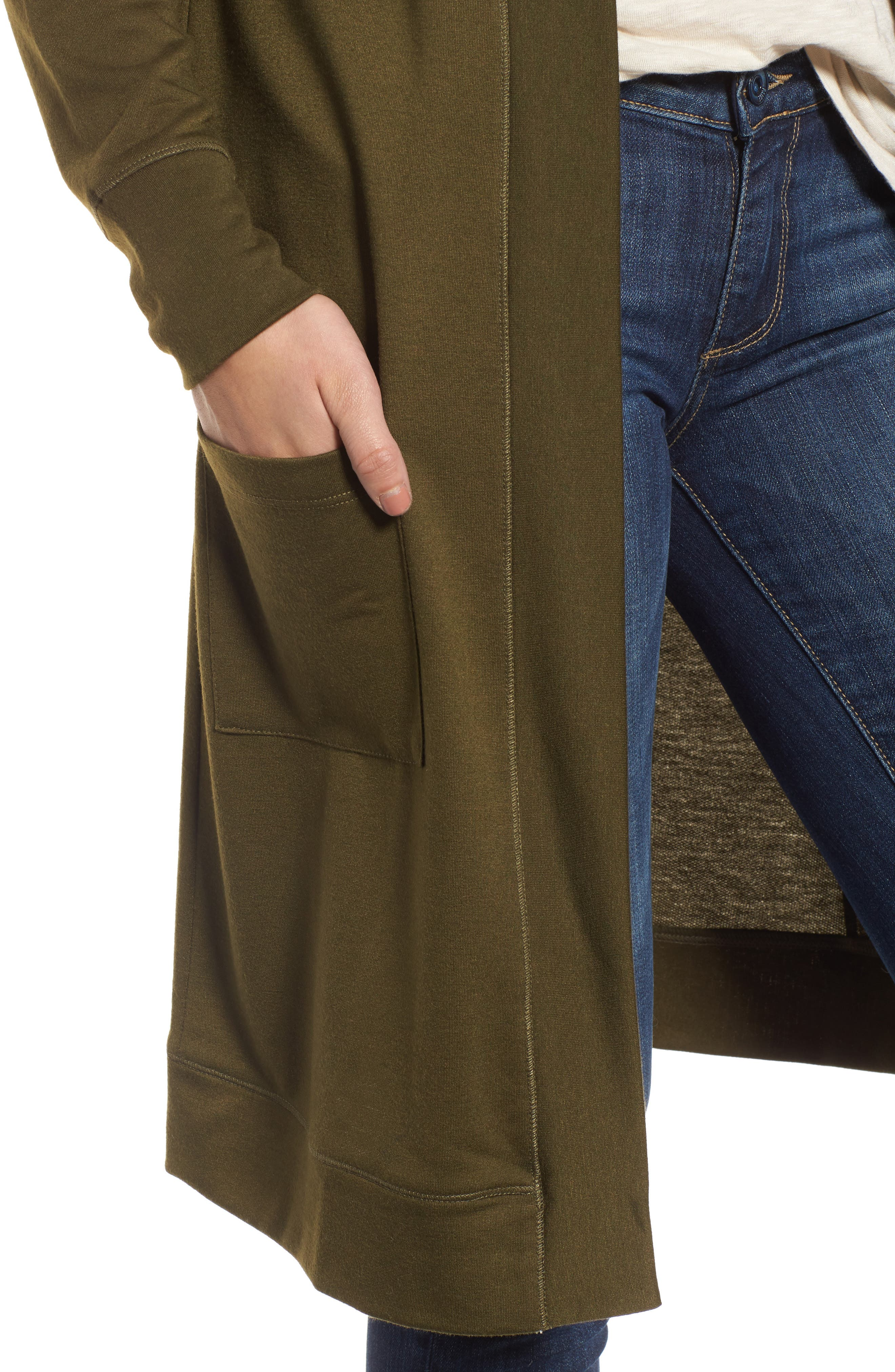 Long French Terry Cardigan,                             Alternate thumbnail 19, color,