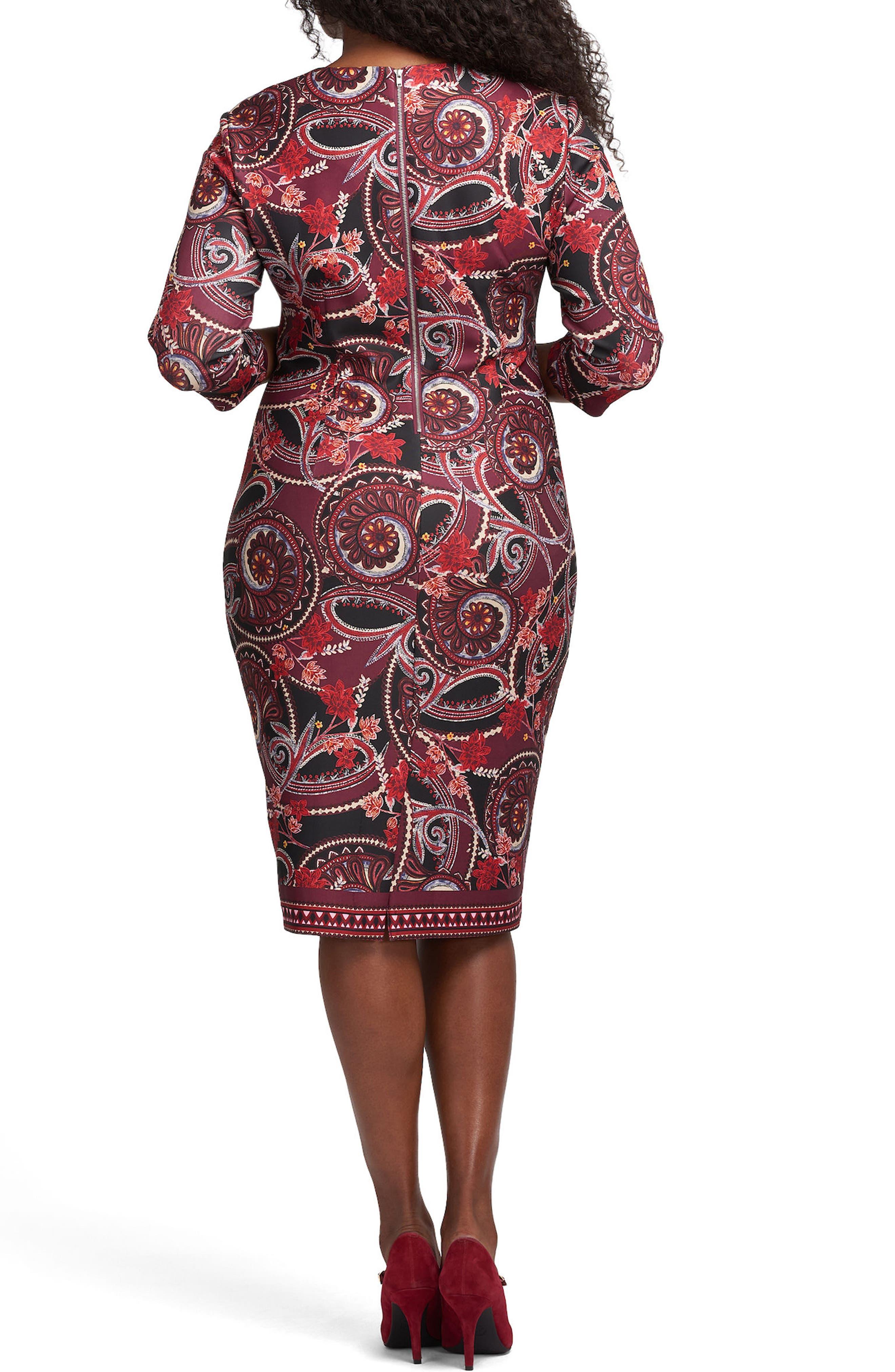 ECI,                             Floral Paisley Scuba Sheath Dress,                             Alternate thumbnail 2, color,                             613