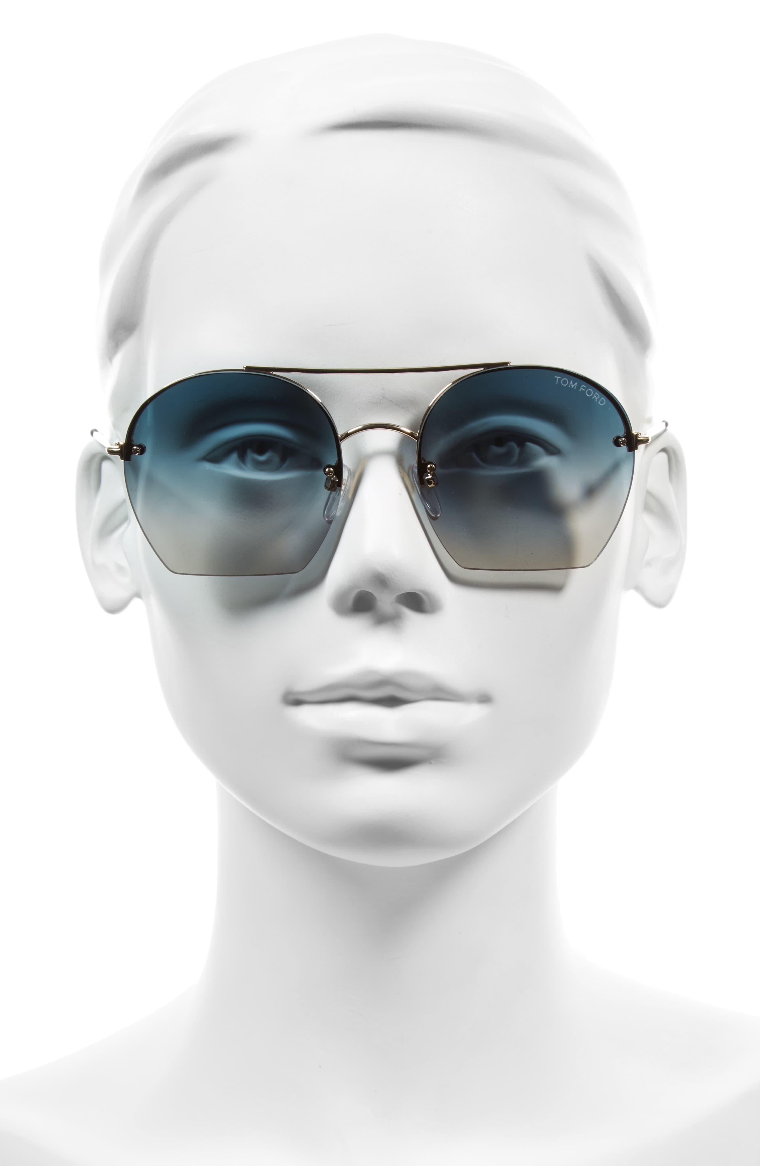 Antonia 55mm Gradient Lens Aviator Sunglasses,                             Alternate thumbnail 3, color,