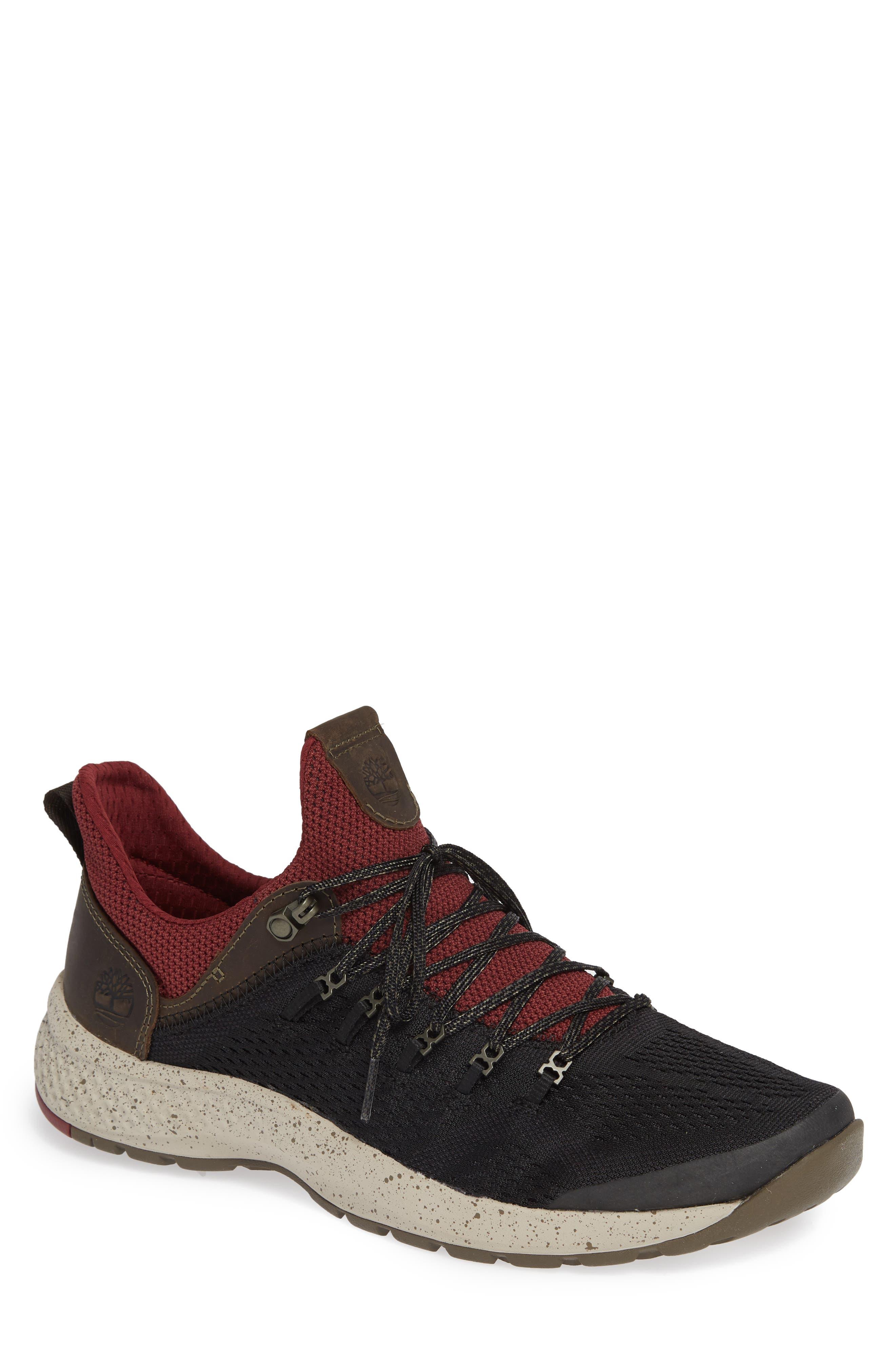 FlyRoam Trail Sneaker, Main, color, BLACK/ BURGUNDY