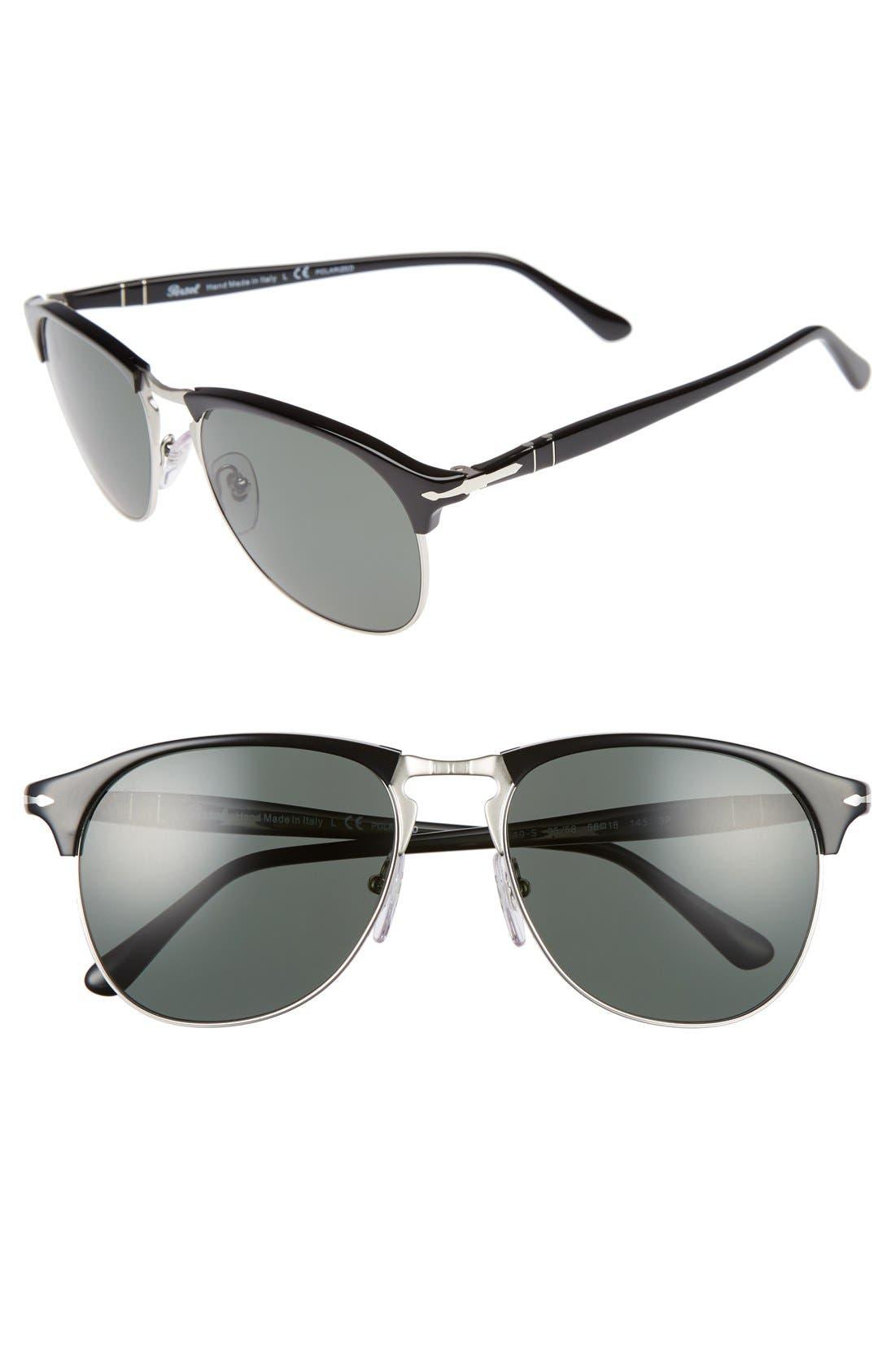 56mm Sunglasses,                         Main,                         color, BLACK