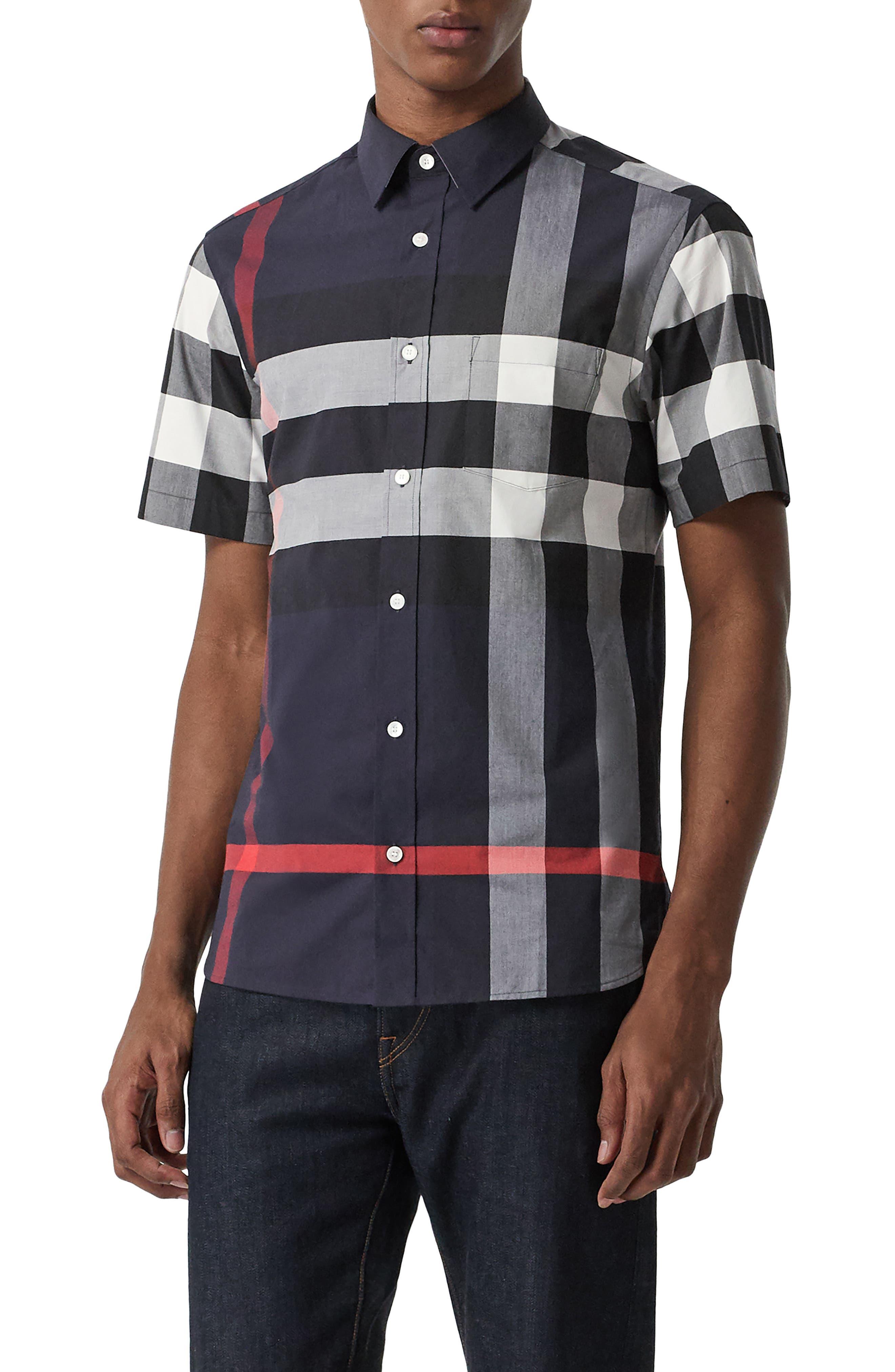 Burberry Windsor Plaid Shirt, Blue