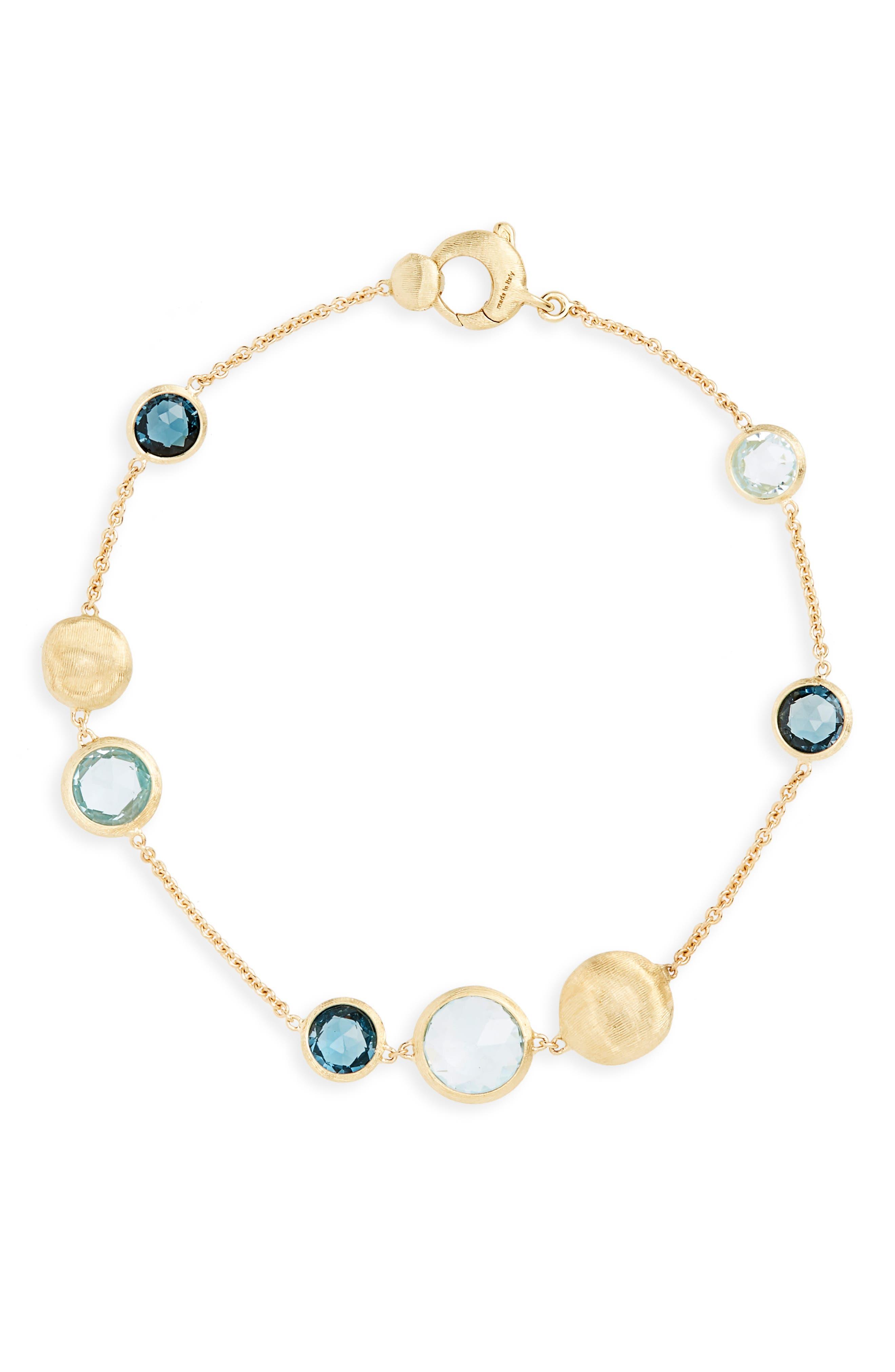'Jaipur' Station Bracelet, Main, color, YELLOW GOLD/ SWISS BLUE TOPAZ