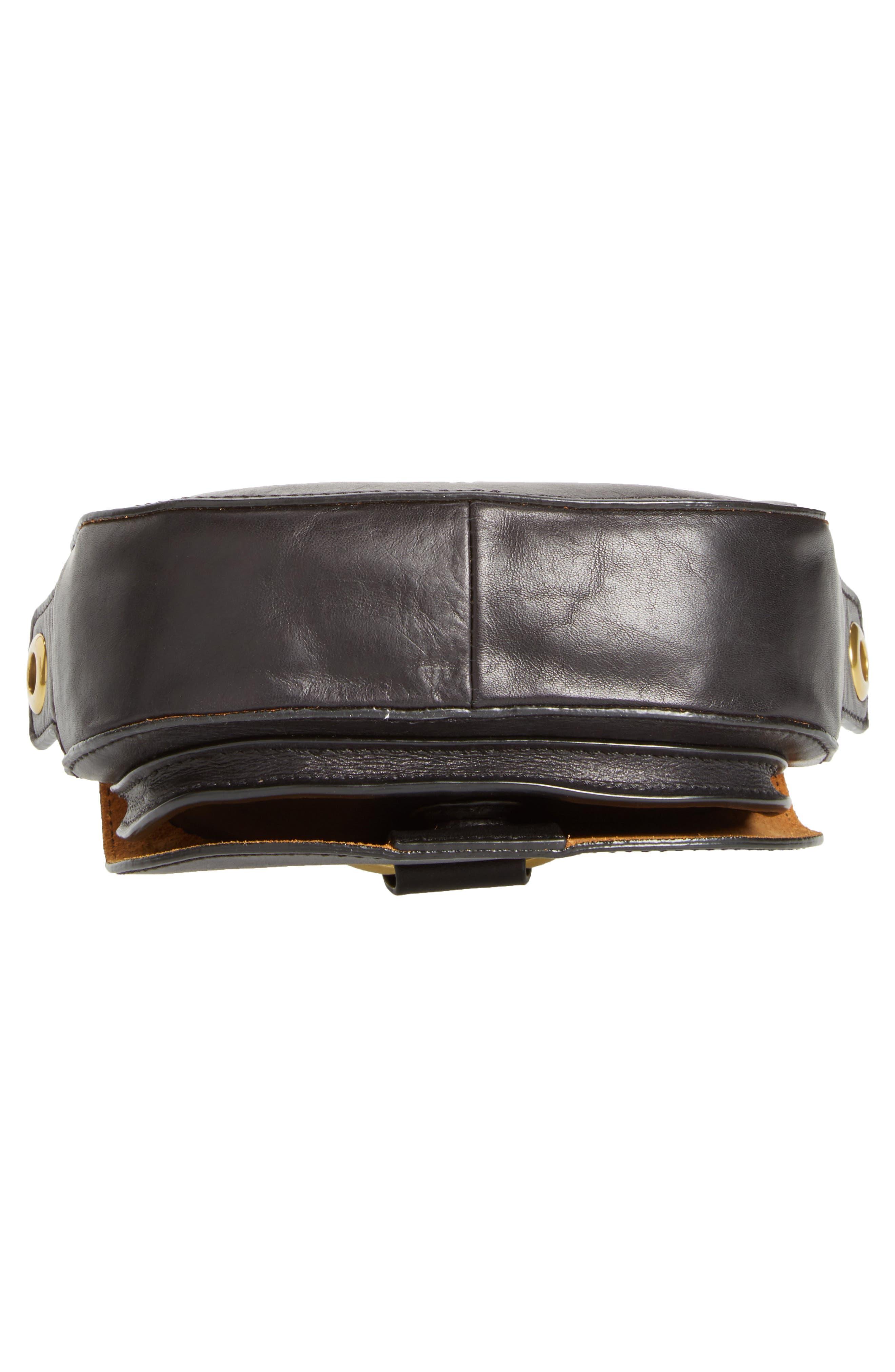 Mini Ilana Harness Leather Saddle Bag,                             Alternate thumbnail 6, color,                             001