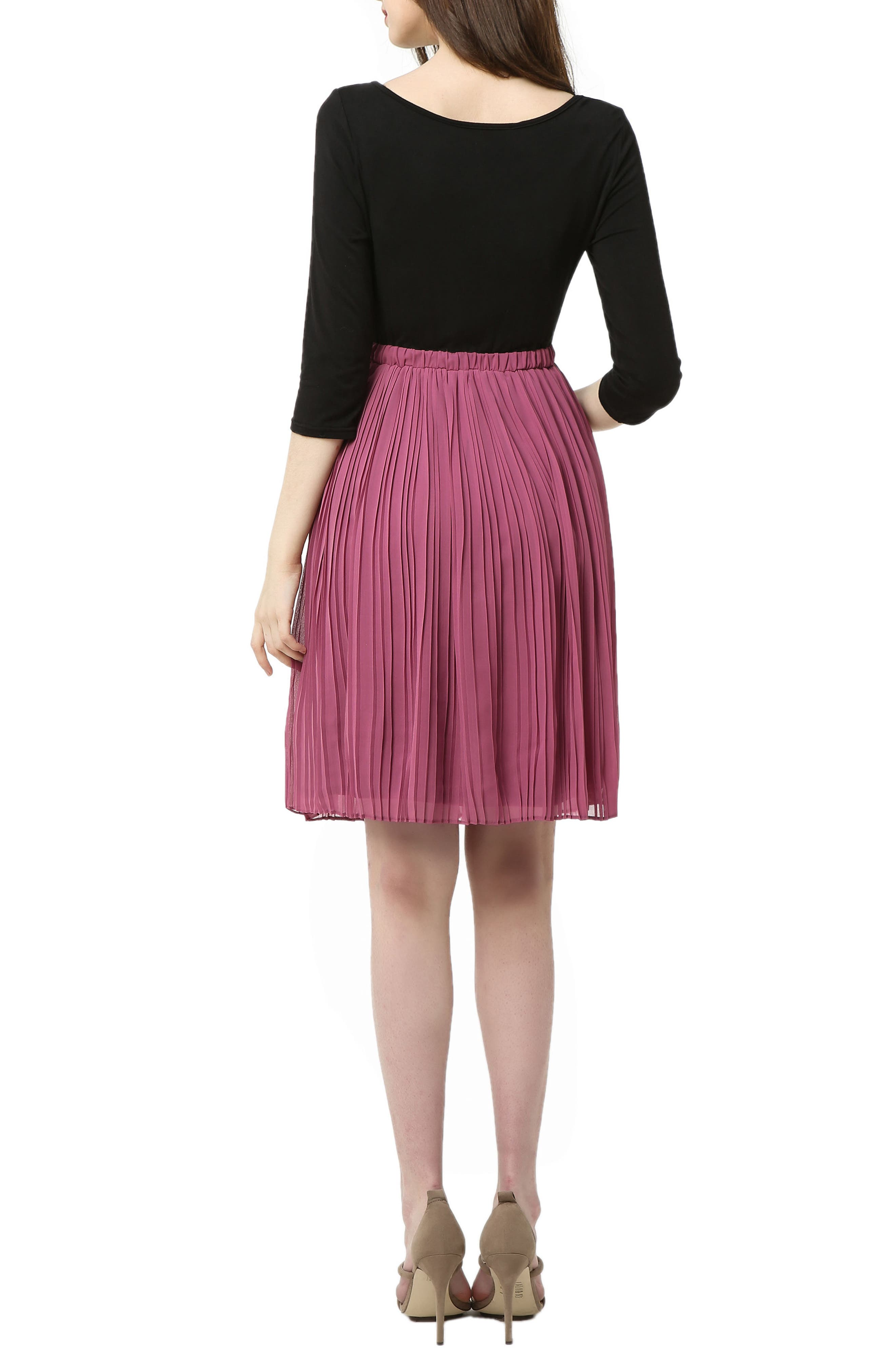 Marie Colorblock Pleat Skirt Maternity Dress,                             Alternate thumbnail 2, color,                             BLACK