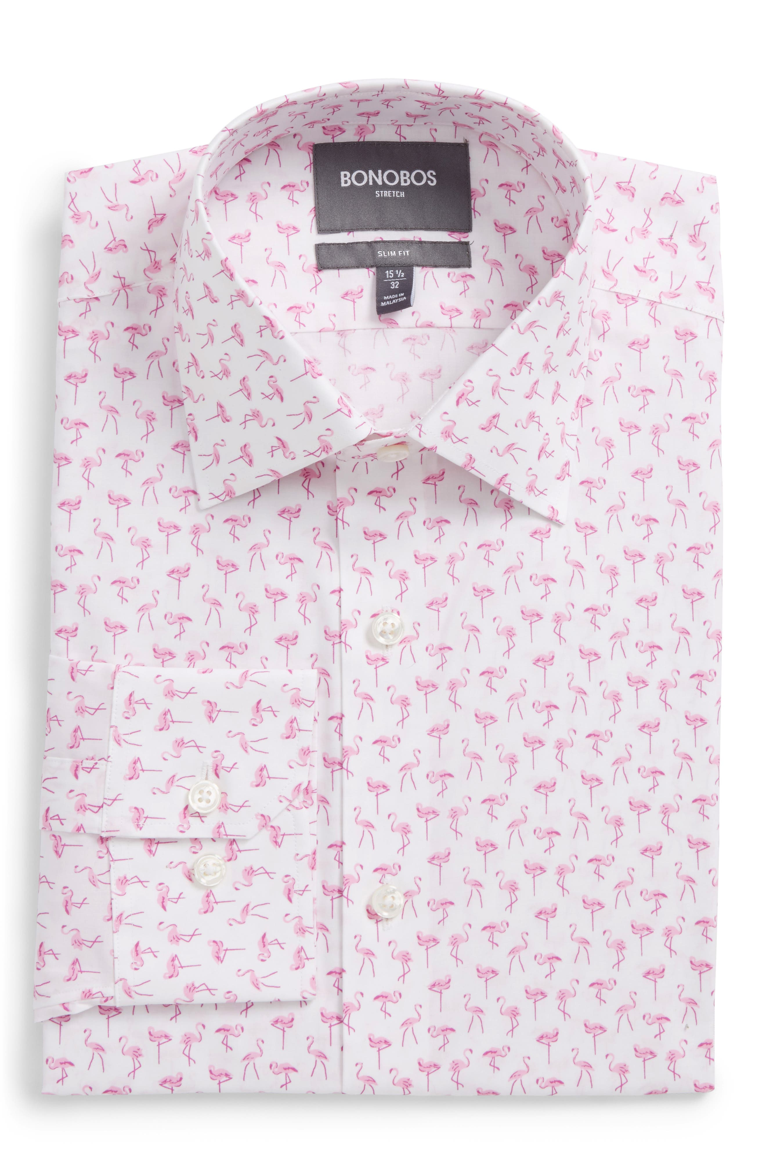 Slim Fit Stretch Flamingo Print Dress Shirt,                         Main,                         color, 650