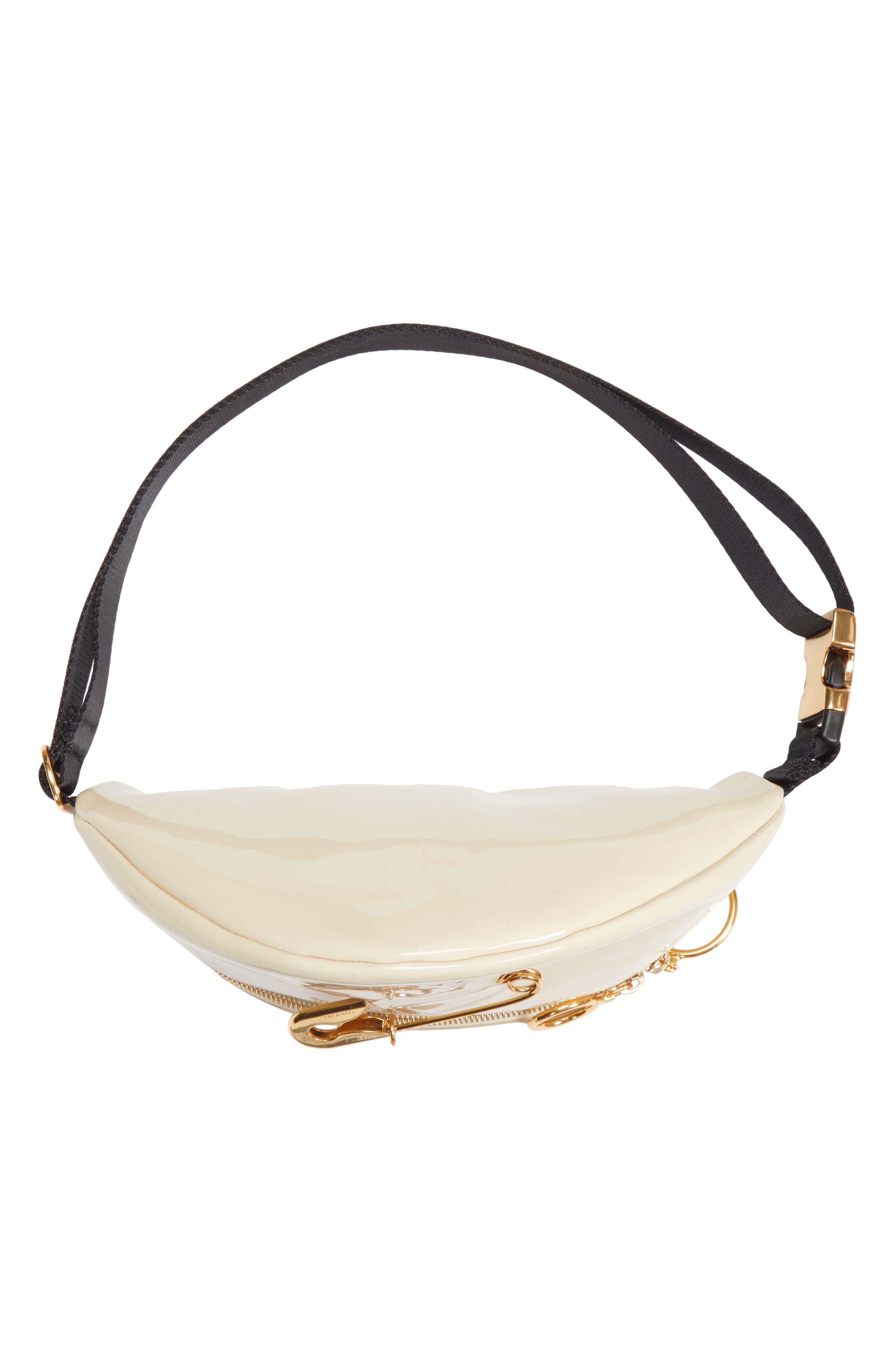 Mindy Patent Faux Leather Belt Bag,                             Alternate thumbnail 6, color,                             CEMENT BEIGE