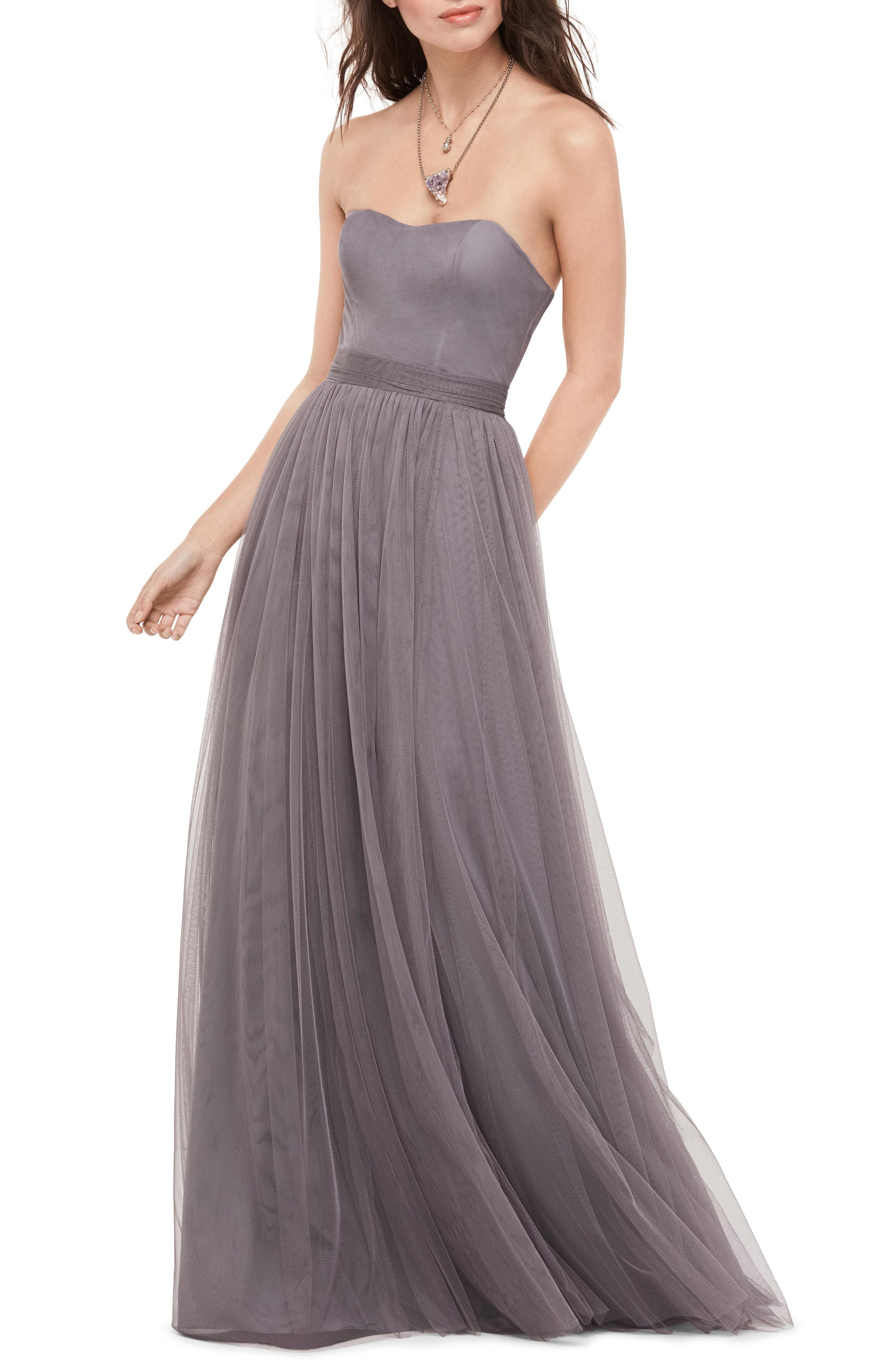 Bobbinet Strapless Gown,                             Main thumbnail 1, color,