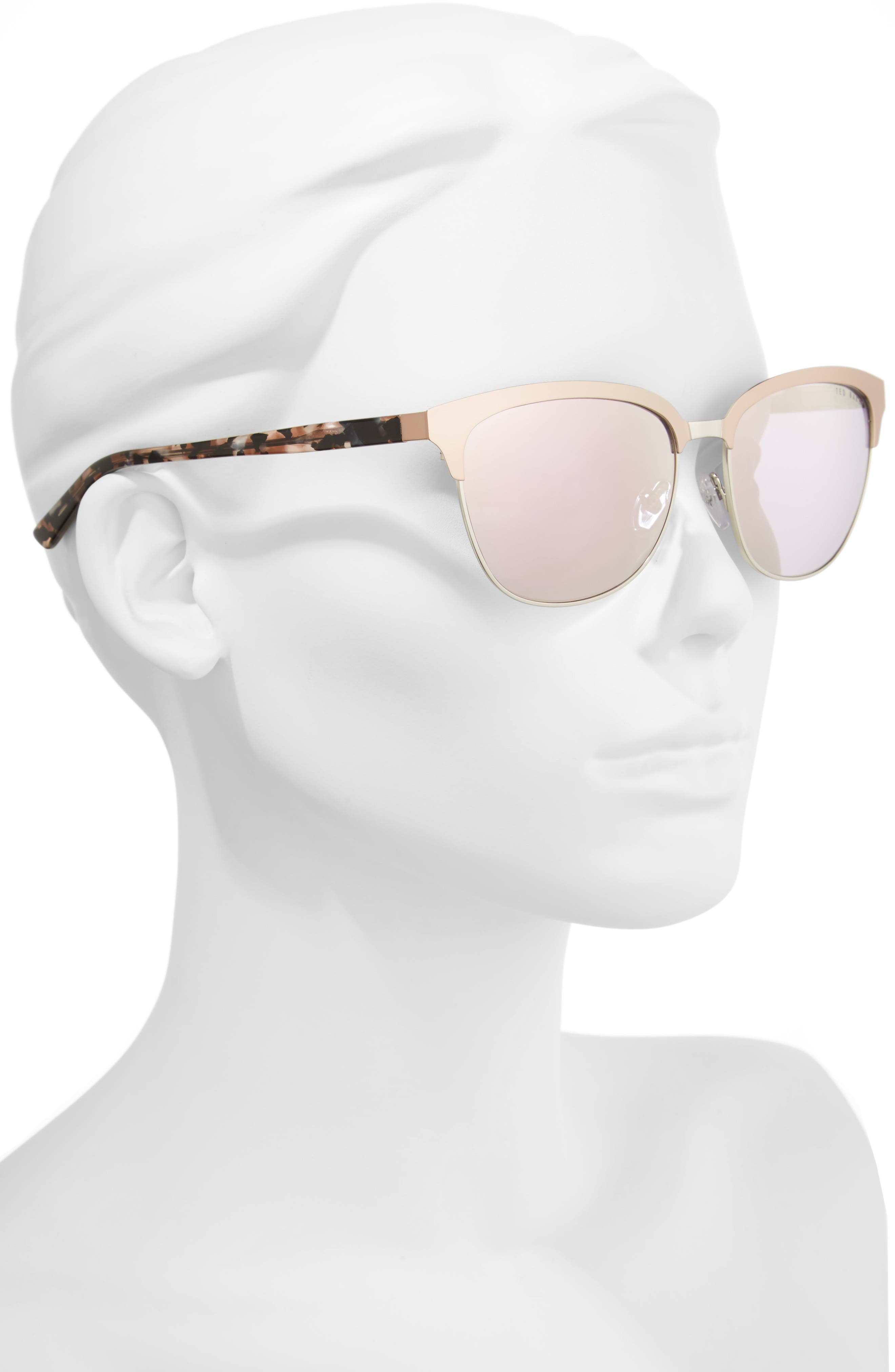 57mm Mirrored Sunglasses,                             Alternate thumbnail 2, color,                             ROSE GOLD