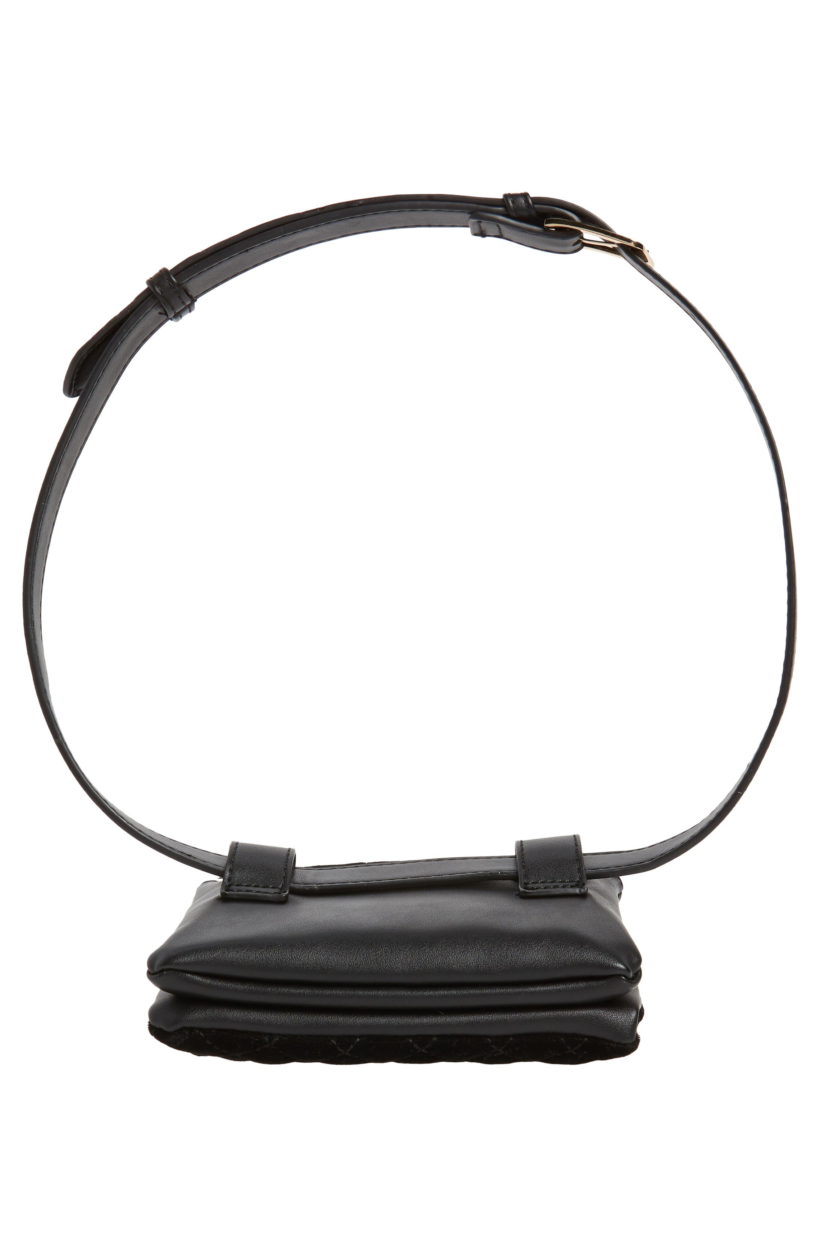 Mali + Lili Nikki Quilted Velvet Belt Bag,                             Alternate thumbnail 8, color,                             BLACK