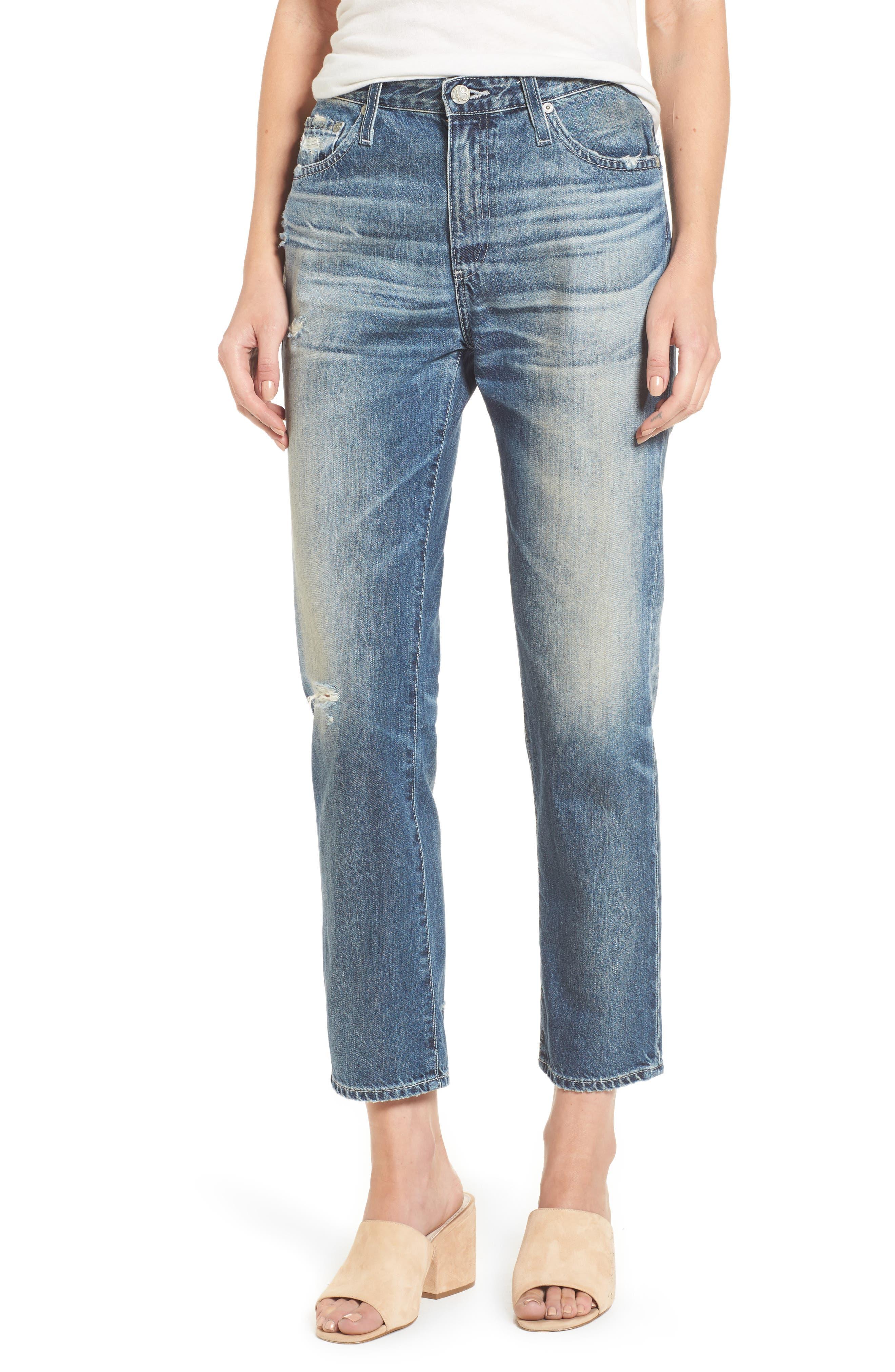 Isabelle High Waist Straight Leg Crop Jeans,                             Main thumbnail 2, color,