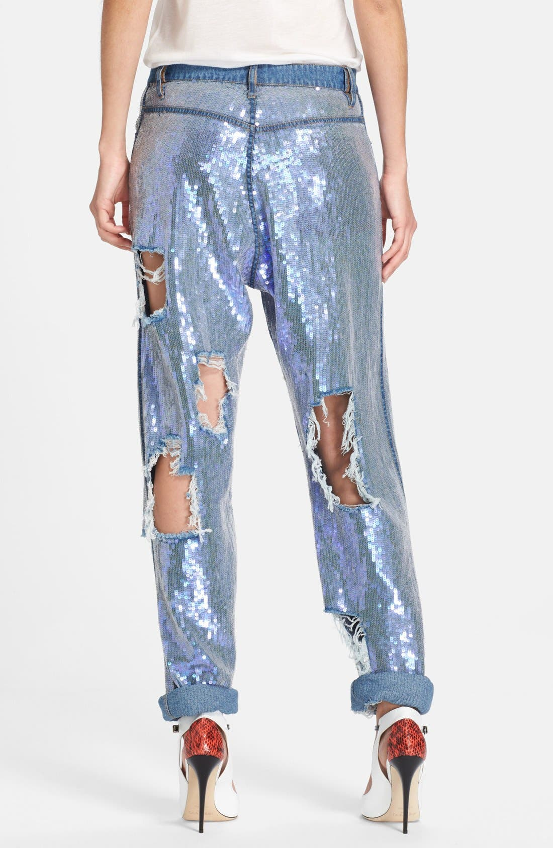 ASHISH,                             Destroyed Sequin Jeans,                             Alternate thumbnail 3, color,                             400
