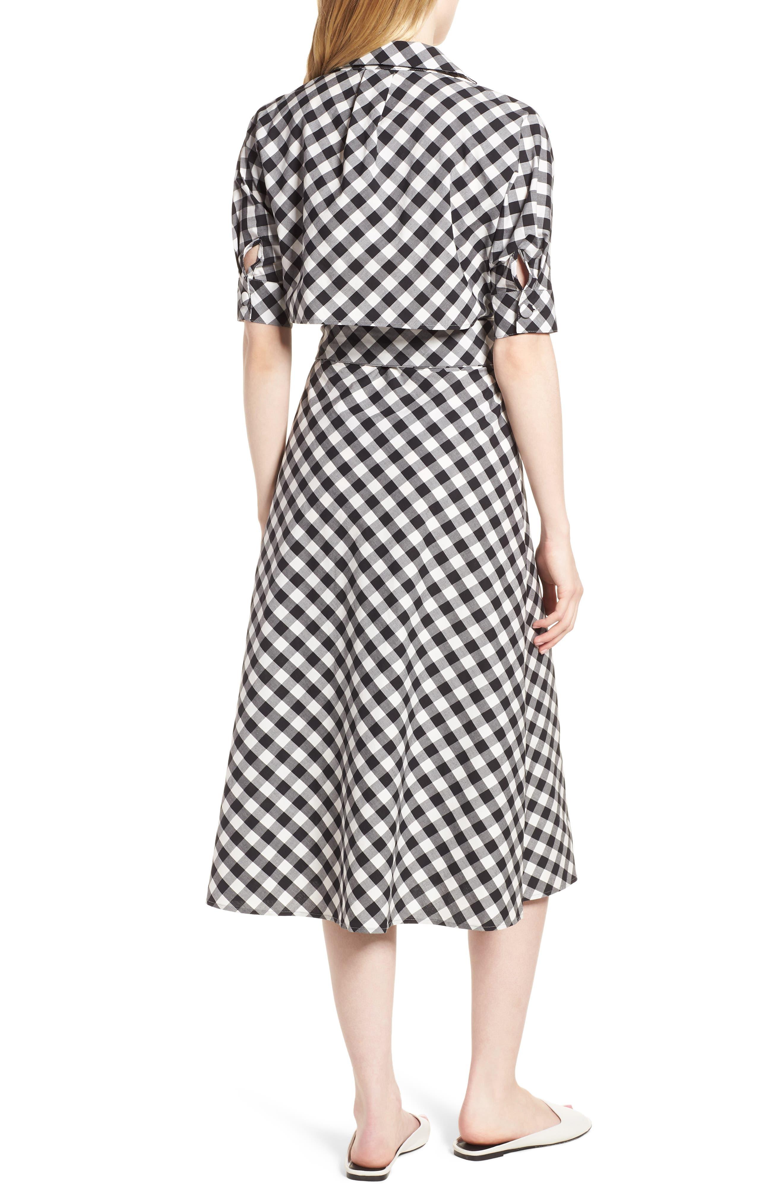Gingham Wrap Midi Dress,                             Alternate thumbnail 2, color,                             003