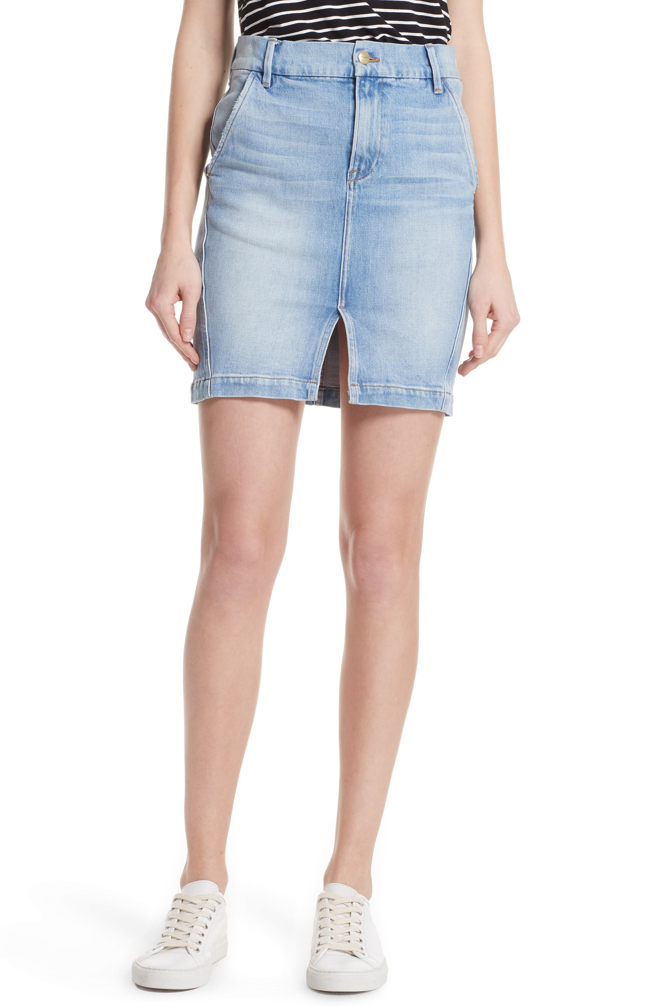 Body-Con Denim Miniskirt,                             Main thumbnail 1, color,                             450