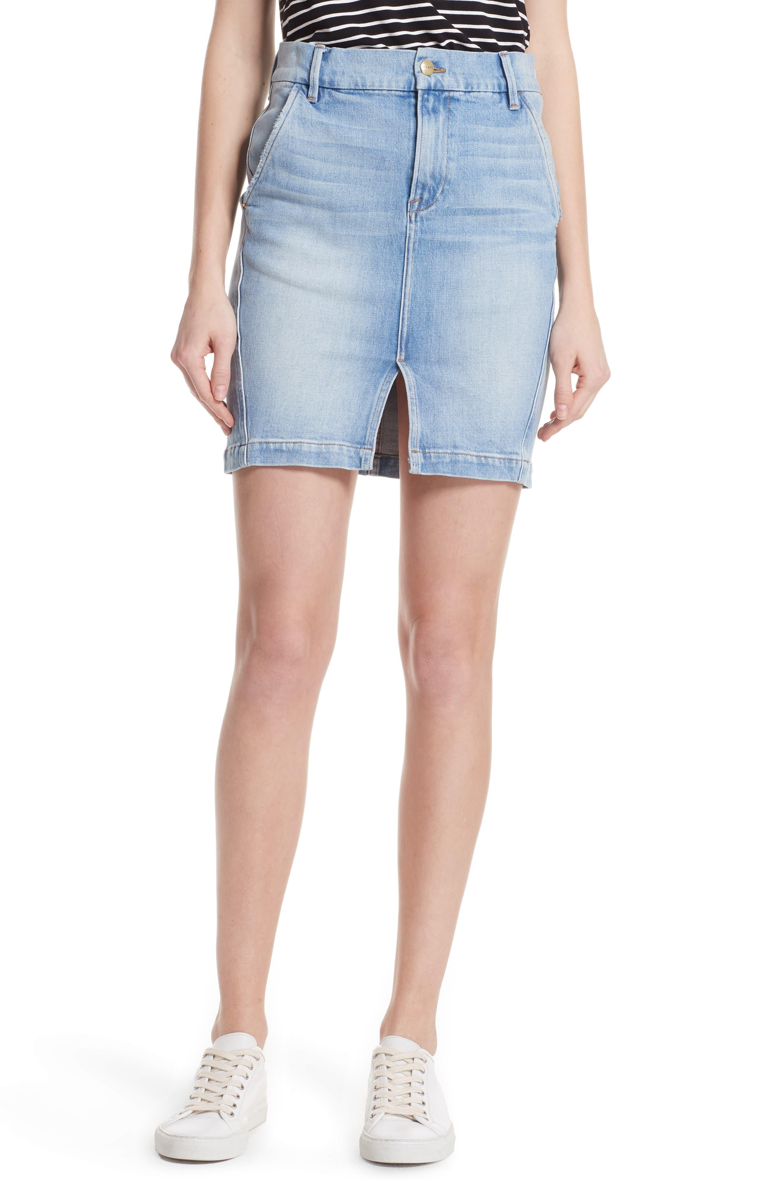 Body-Con Denim Miniskirt,                         Main,                         color, 450