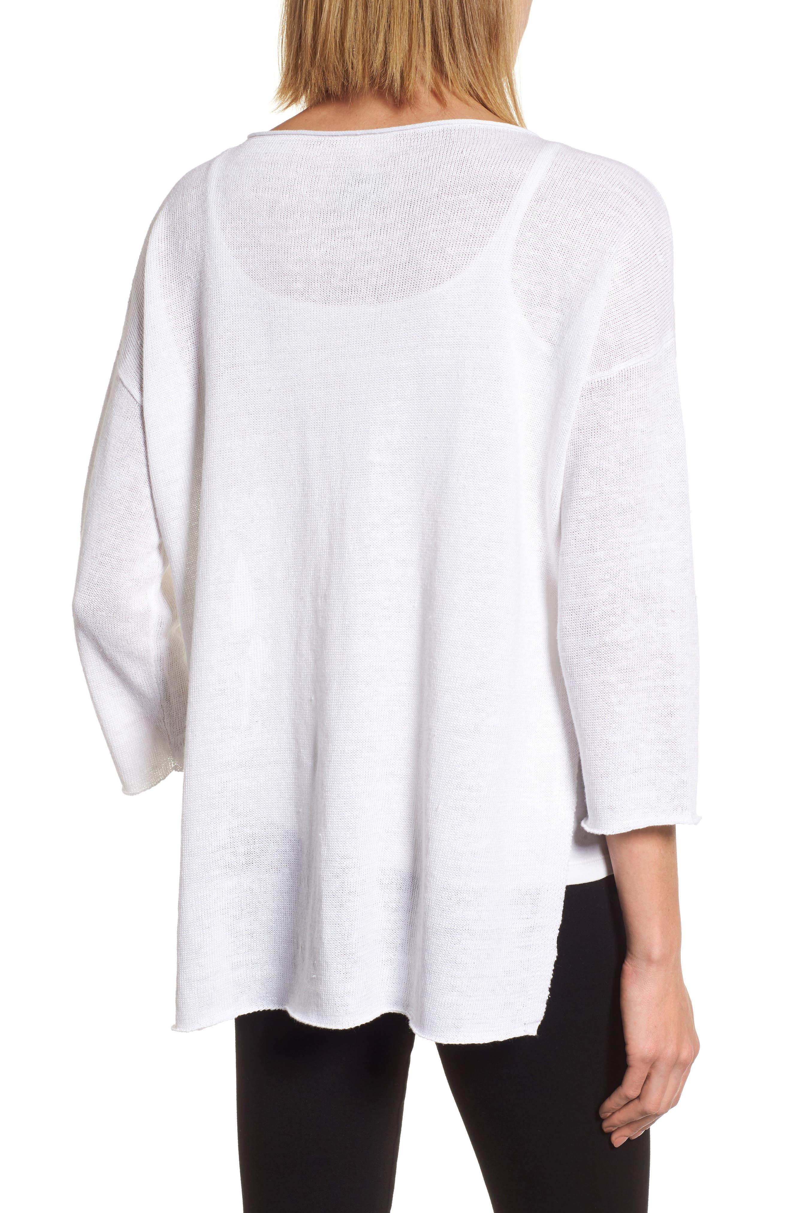 Side Tie Organic Linen Sweater,                             Alternate thumbnail 2, color,                             100