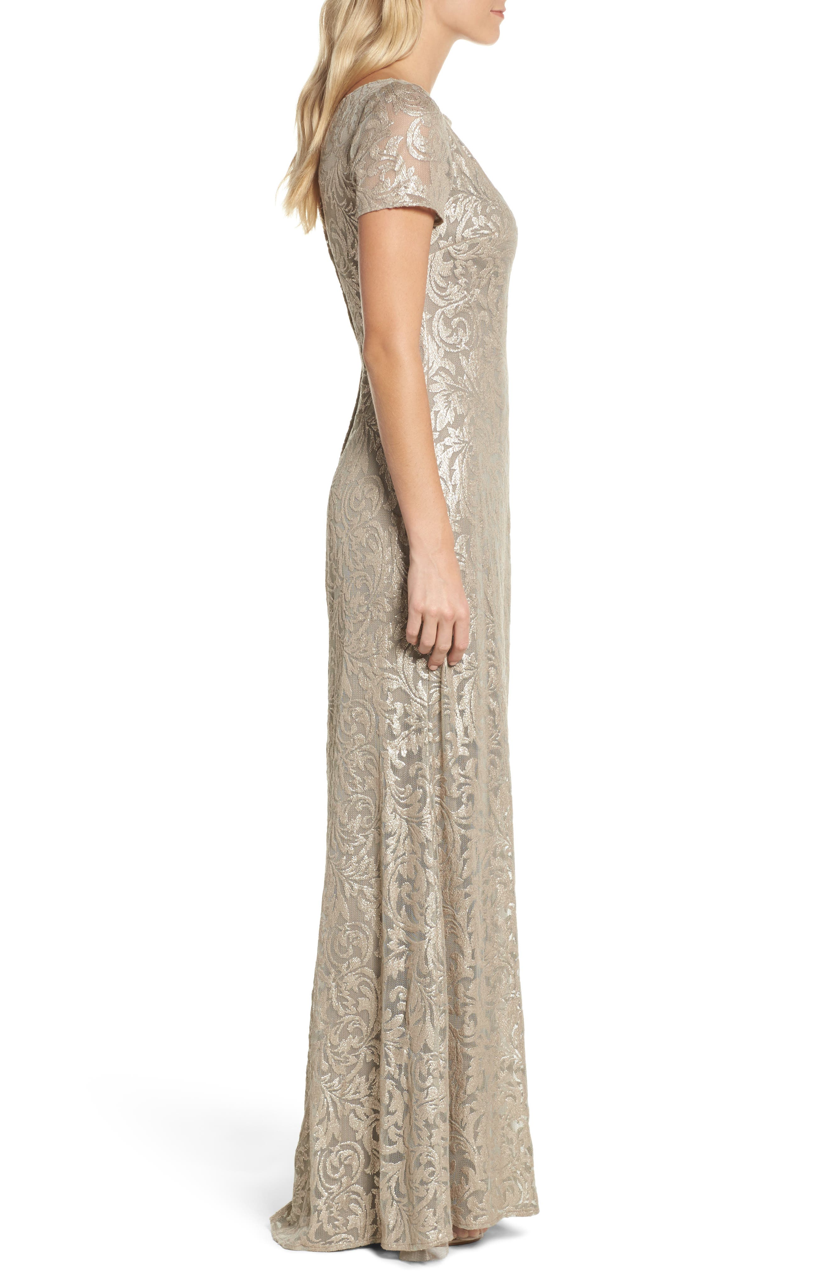 Shimmer Jacquard Gown,                             Alternate thumbnail 3, color,                             LIGHT GOLD