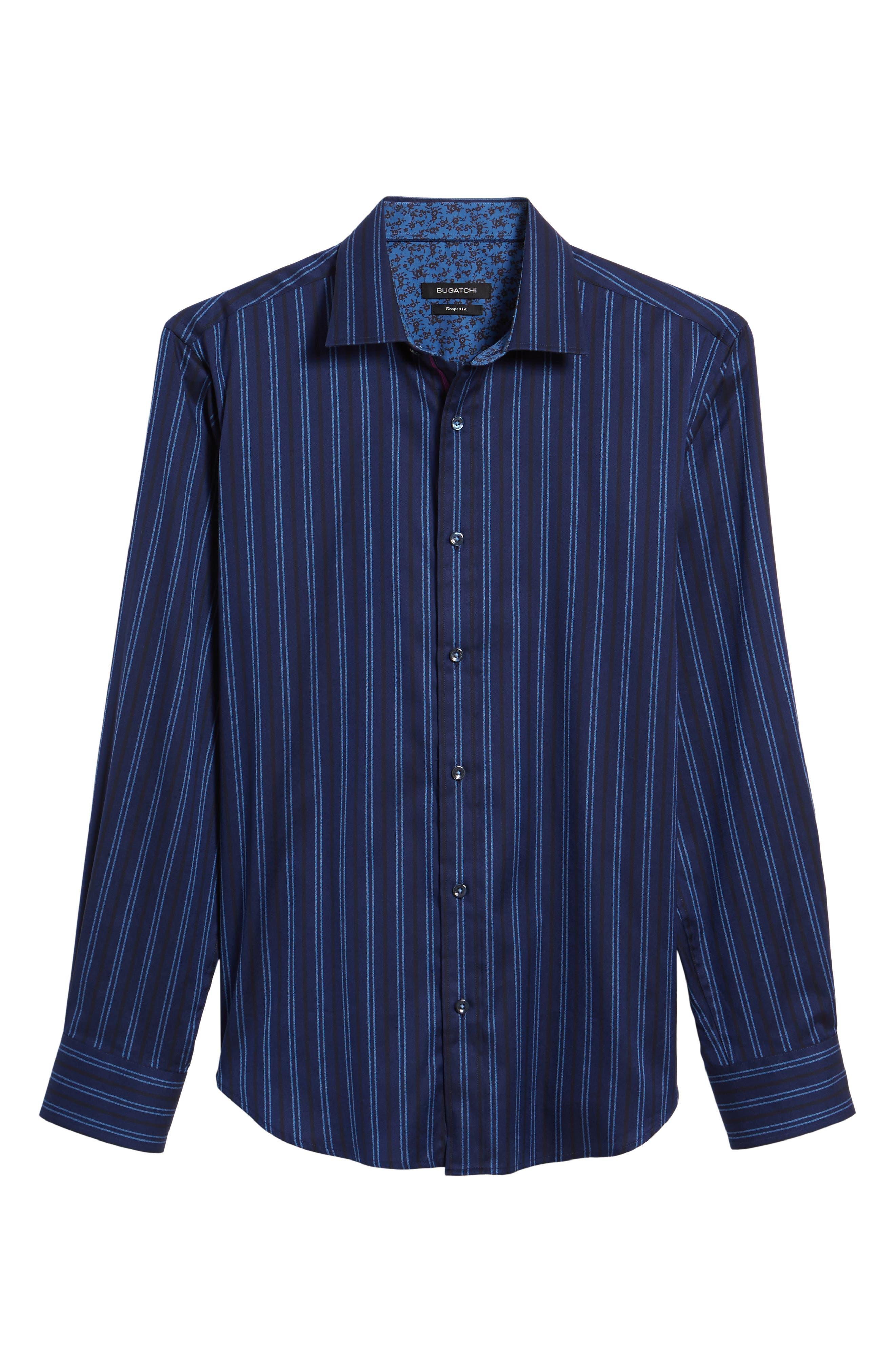 Shaped Fit Stripe Sport Shirt,                             Alternate thumbnail 6, color,                             410