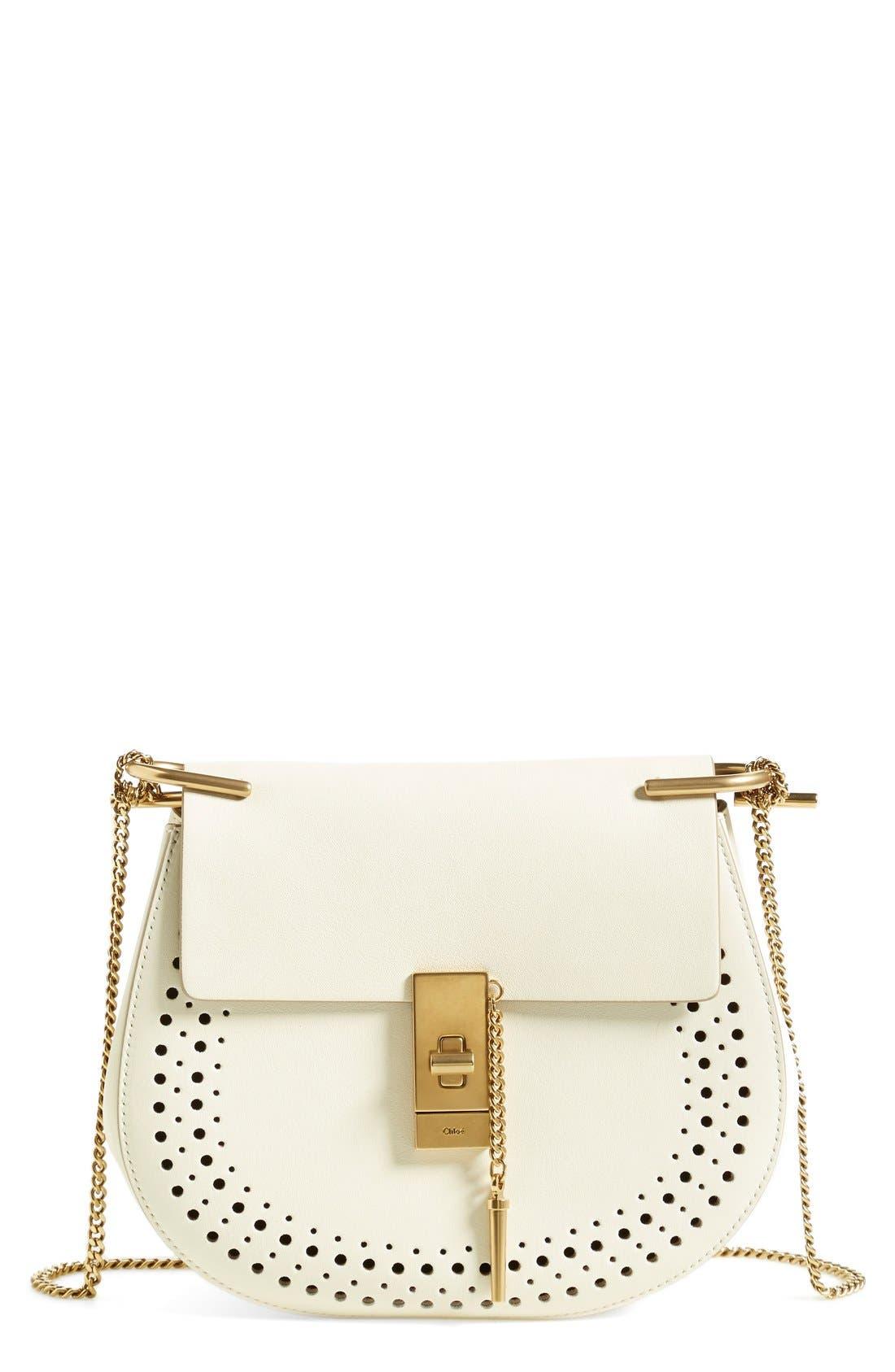 'Mini Drew' Calfskin Leather Shoulder Bag,                         Main,                         color, 100