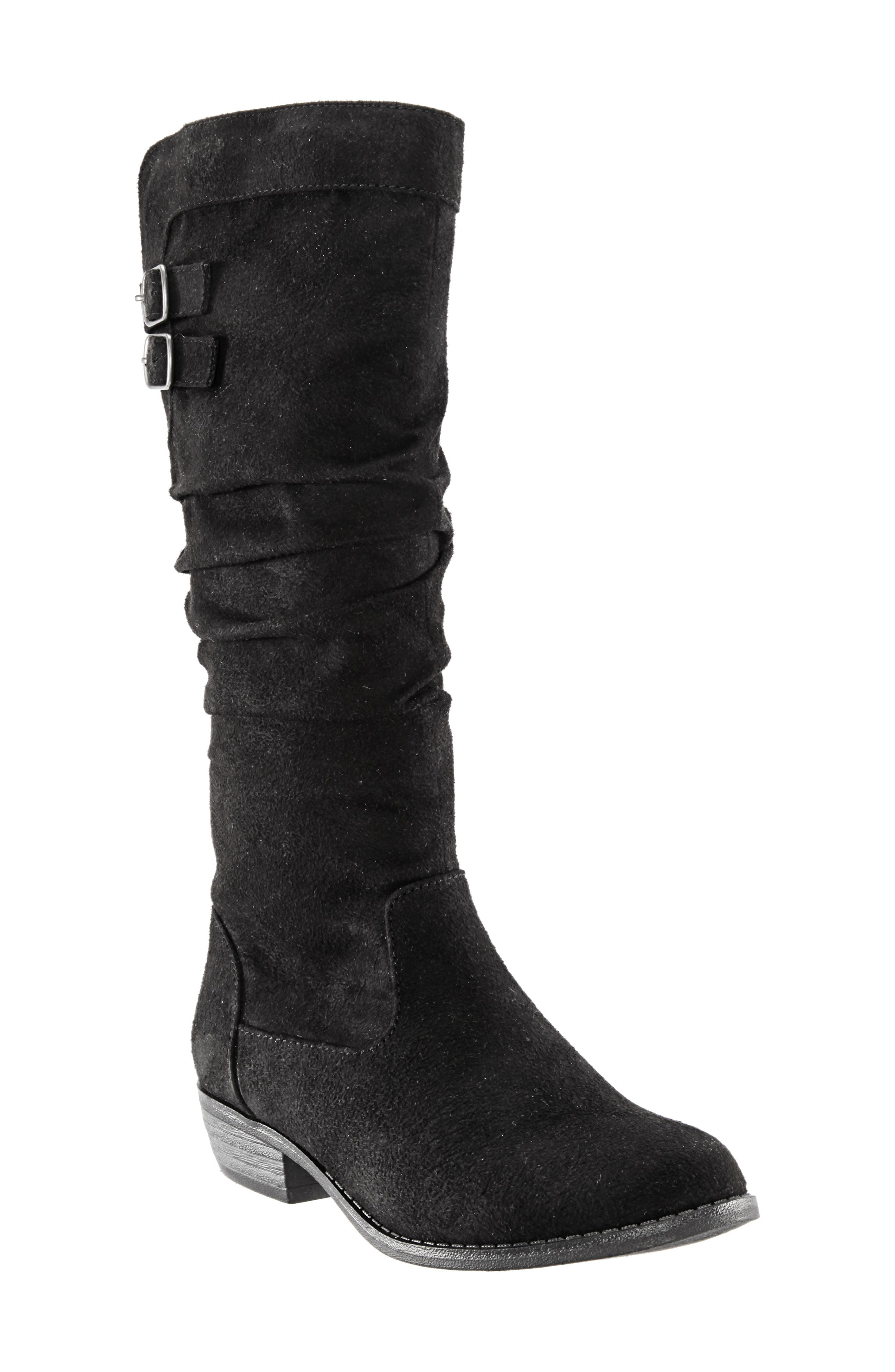 Gilda Tall Slouchy Boot,                         Main,                         color, BLACK BURNISHED MICRO SUEDE
