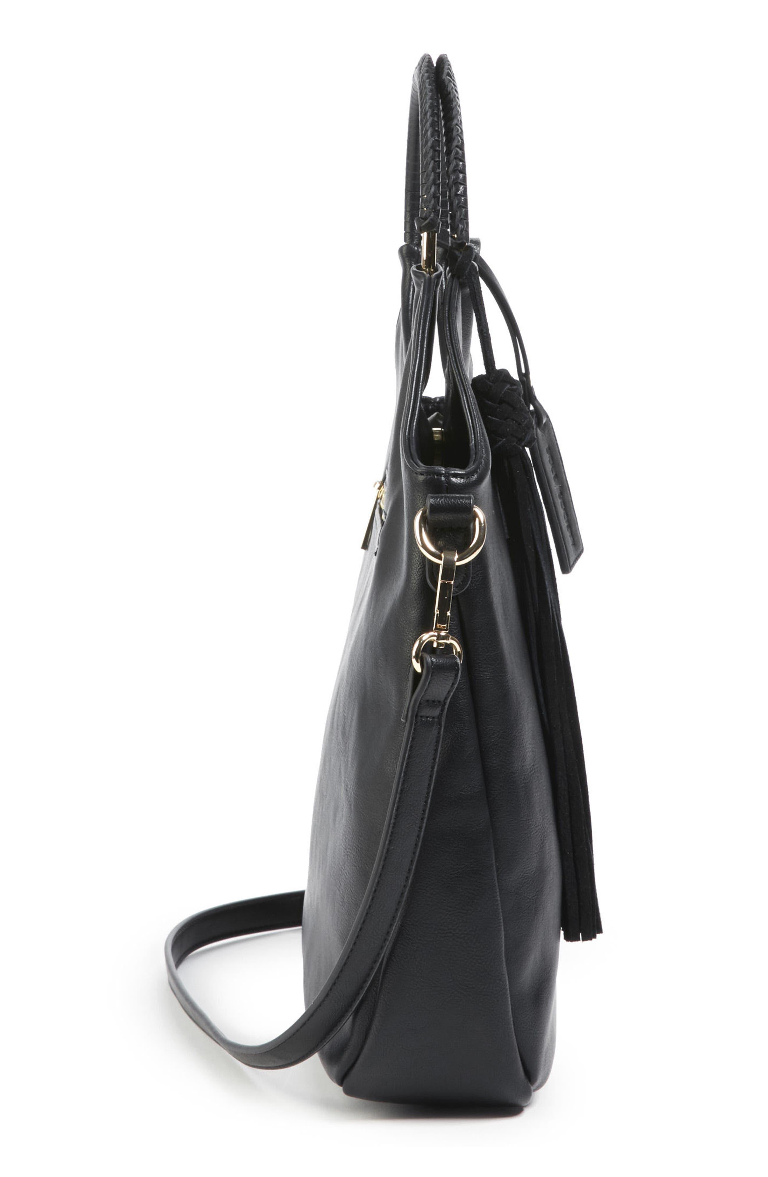 Faux Leather Bracelet Bag,                             Alternate thumbnail 4, color,                             001