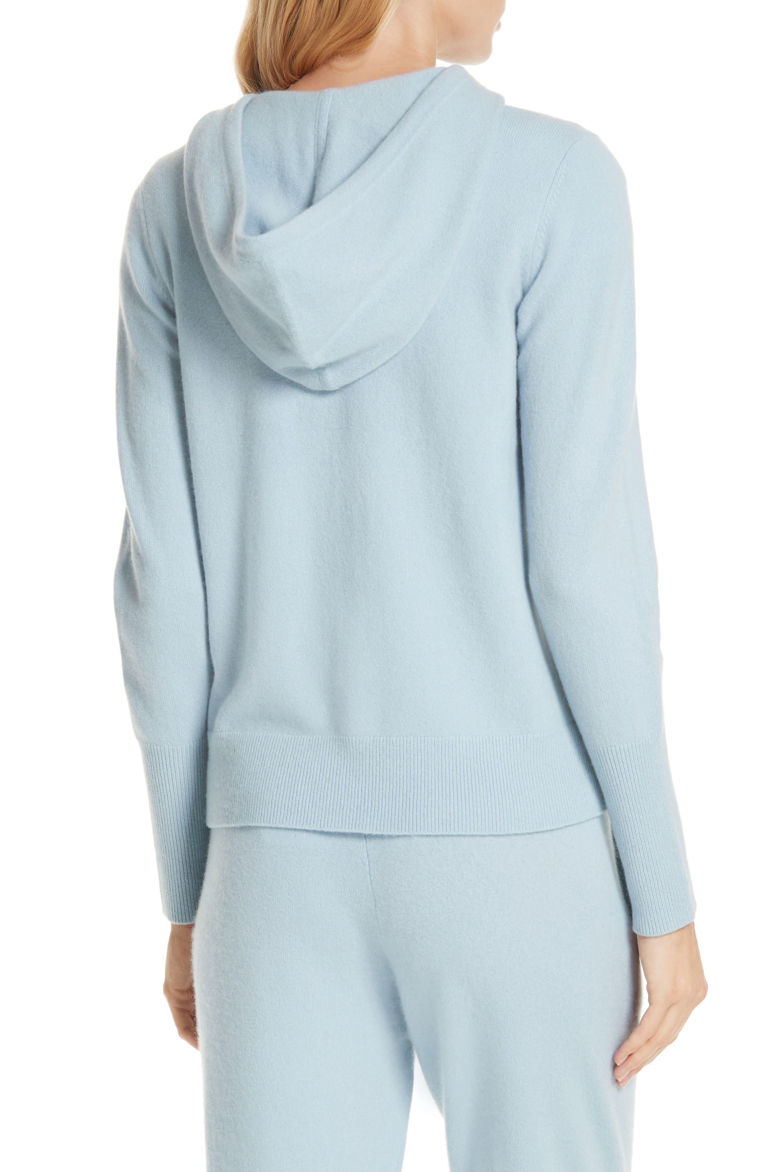 Cashmere Blend Zip Front Hoodie,                             Alternate thumbnail 2, color,                             BLUE FOG