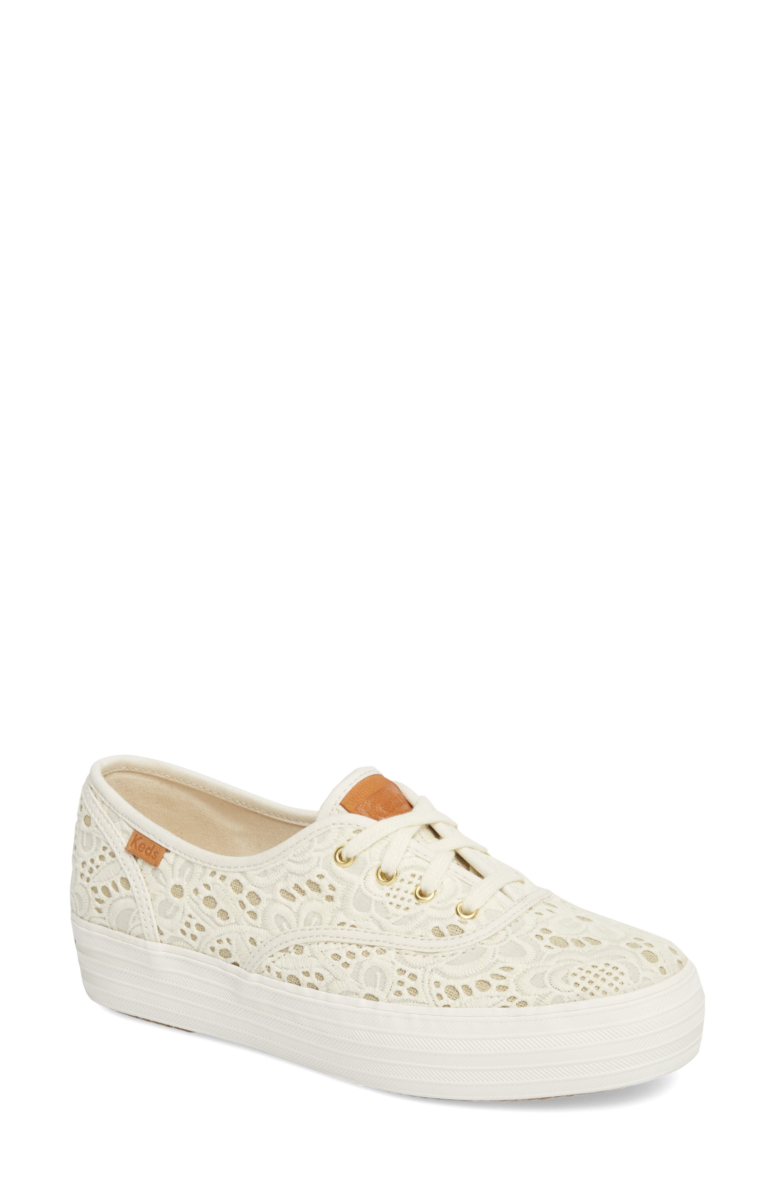 Triple Embroidered Crochet Platform Sneaker,                             Main thumbnail 1, color,                             270