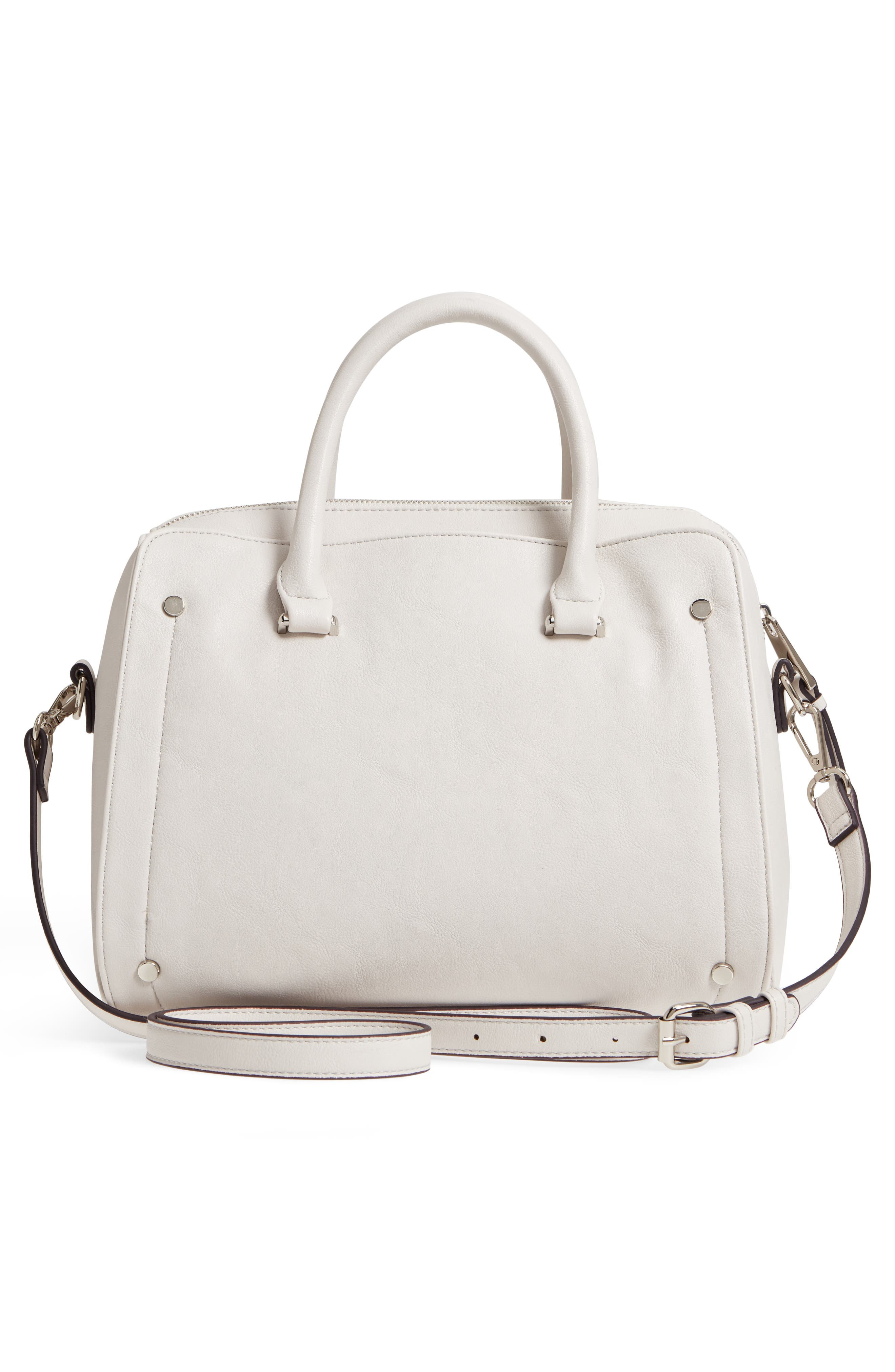 Speedy Studded Faux Leather Satchel,                             Alternate thumbnail 3, color,                             101