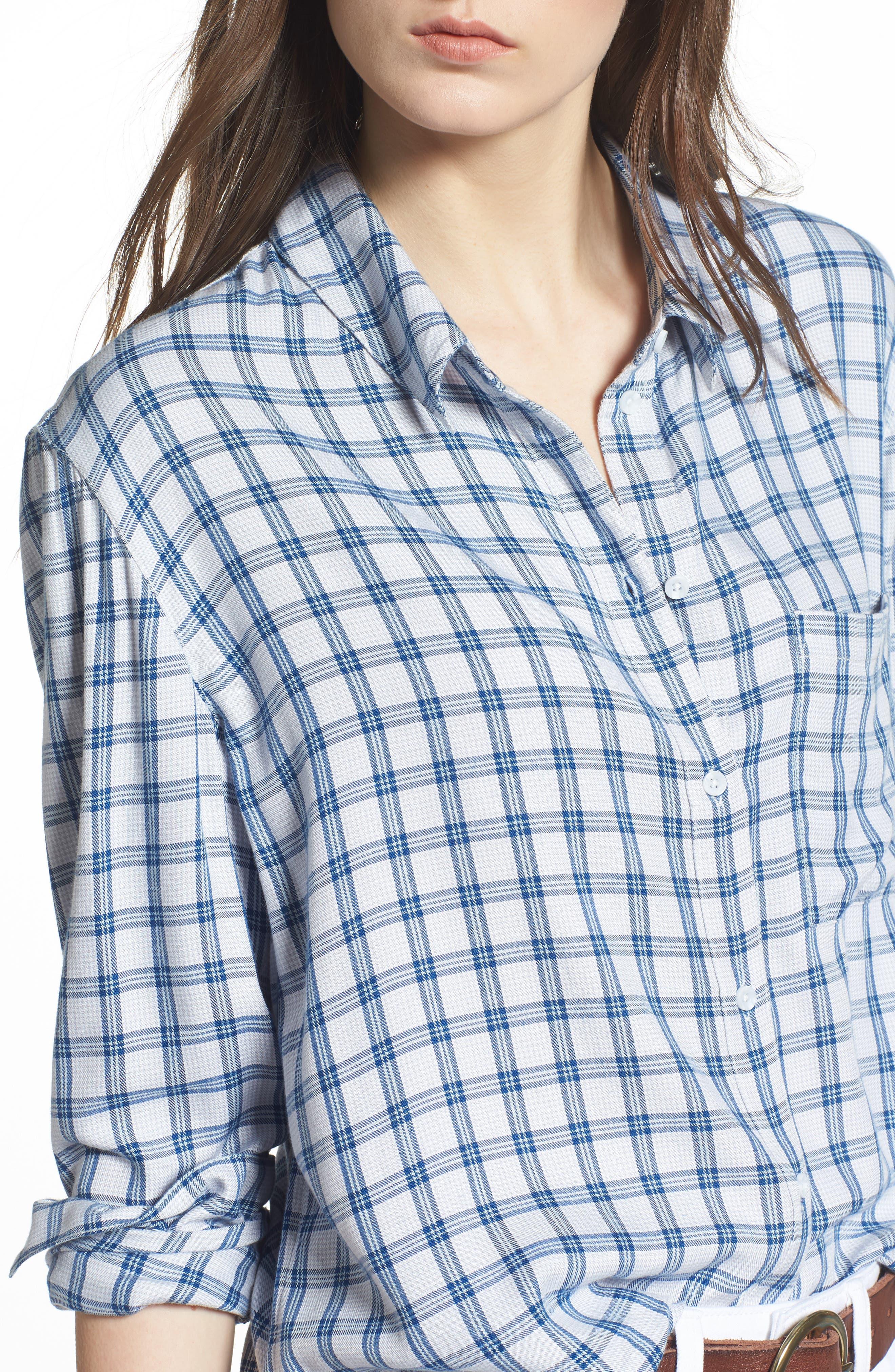 Plaid Boyfriend Shirt,                             Alternate thumbnail 19, color,