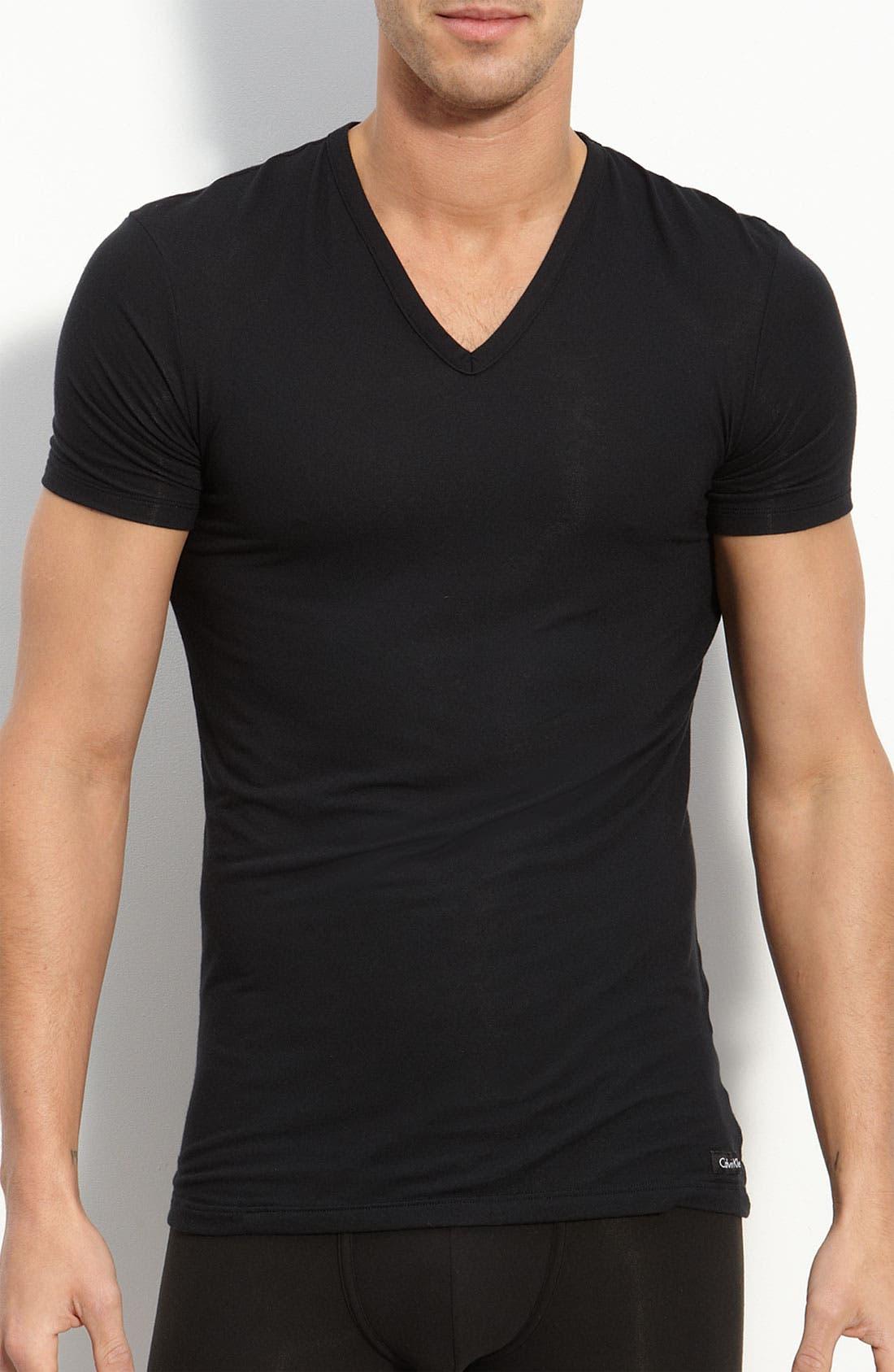 'U5563' V-Neck Micromodal T-Shirt, Main, color, BLACK