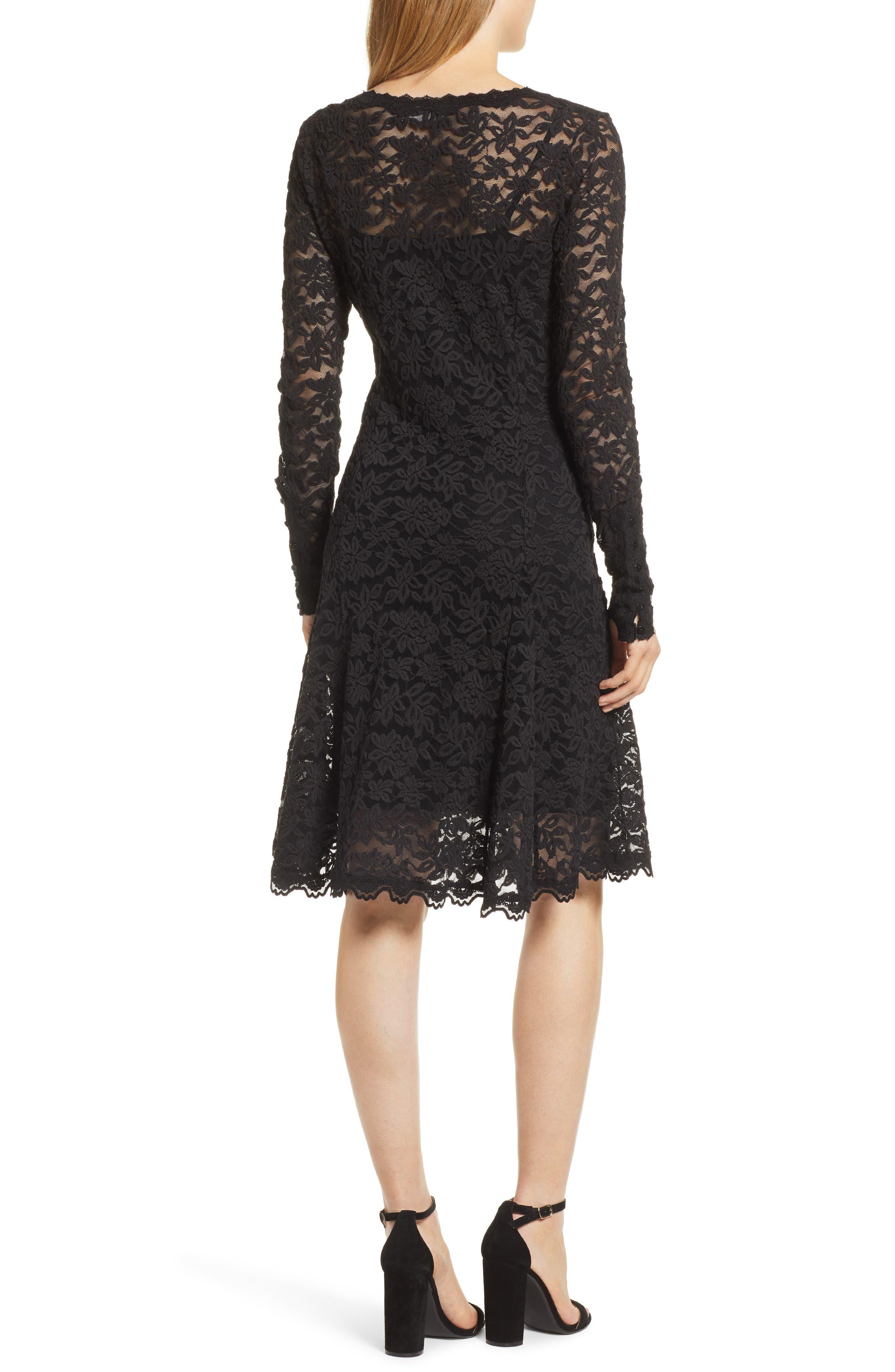 Delicia Fit & Flare Lace Dress,                             Alternate thumbnail 2, color,                             BLACK