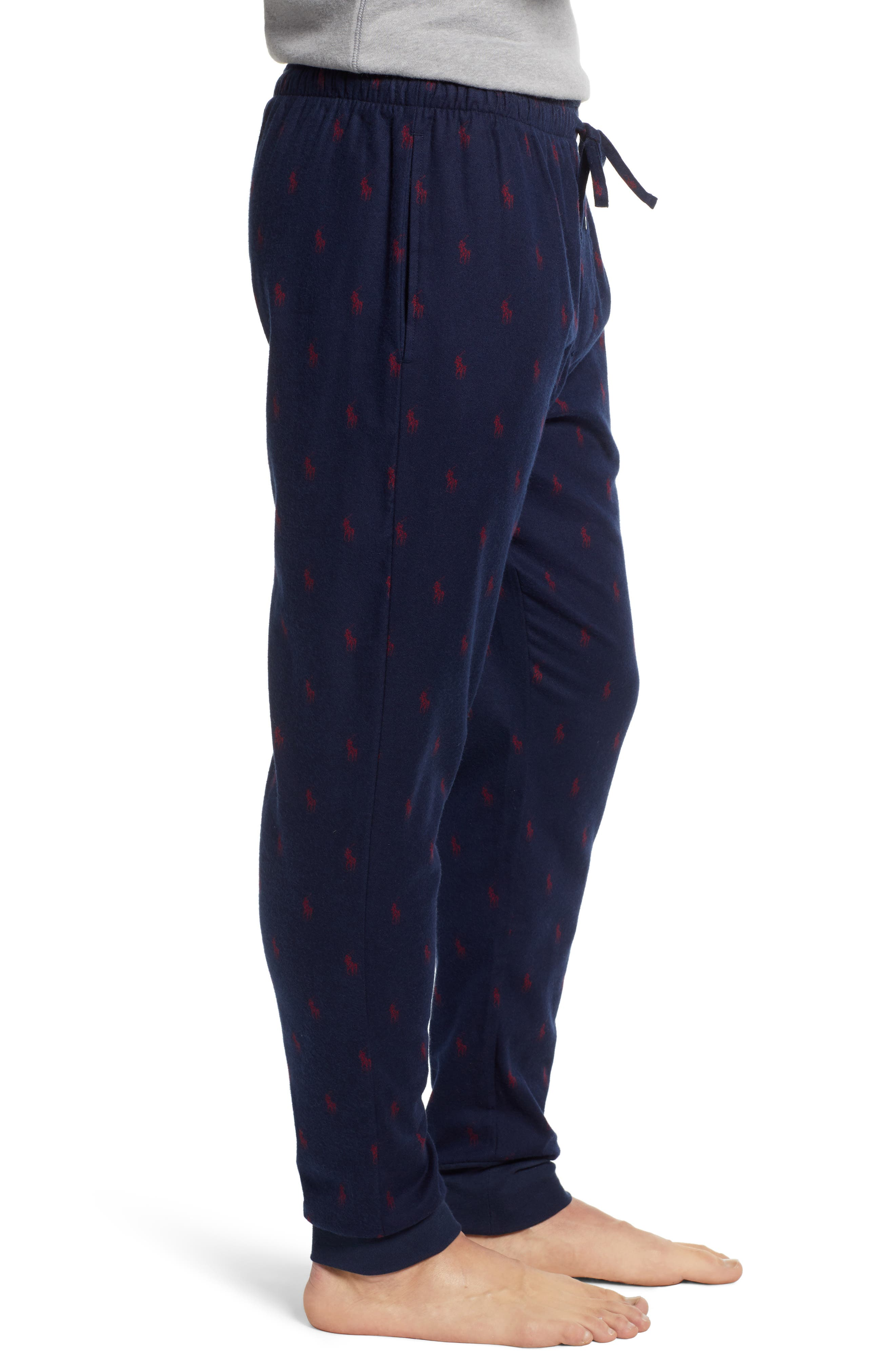 POLO RALPH LAUREN,                             Flannel Cotton Jogger Pants,                             Alternate thumbnail 3, color,                             CRUISE NAVY/ HOLIDAY RED