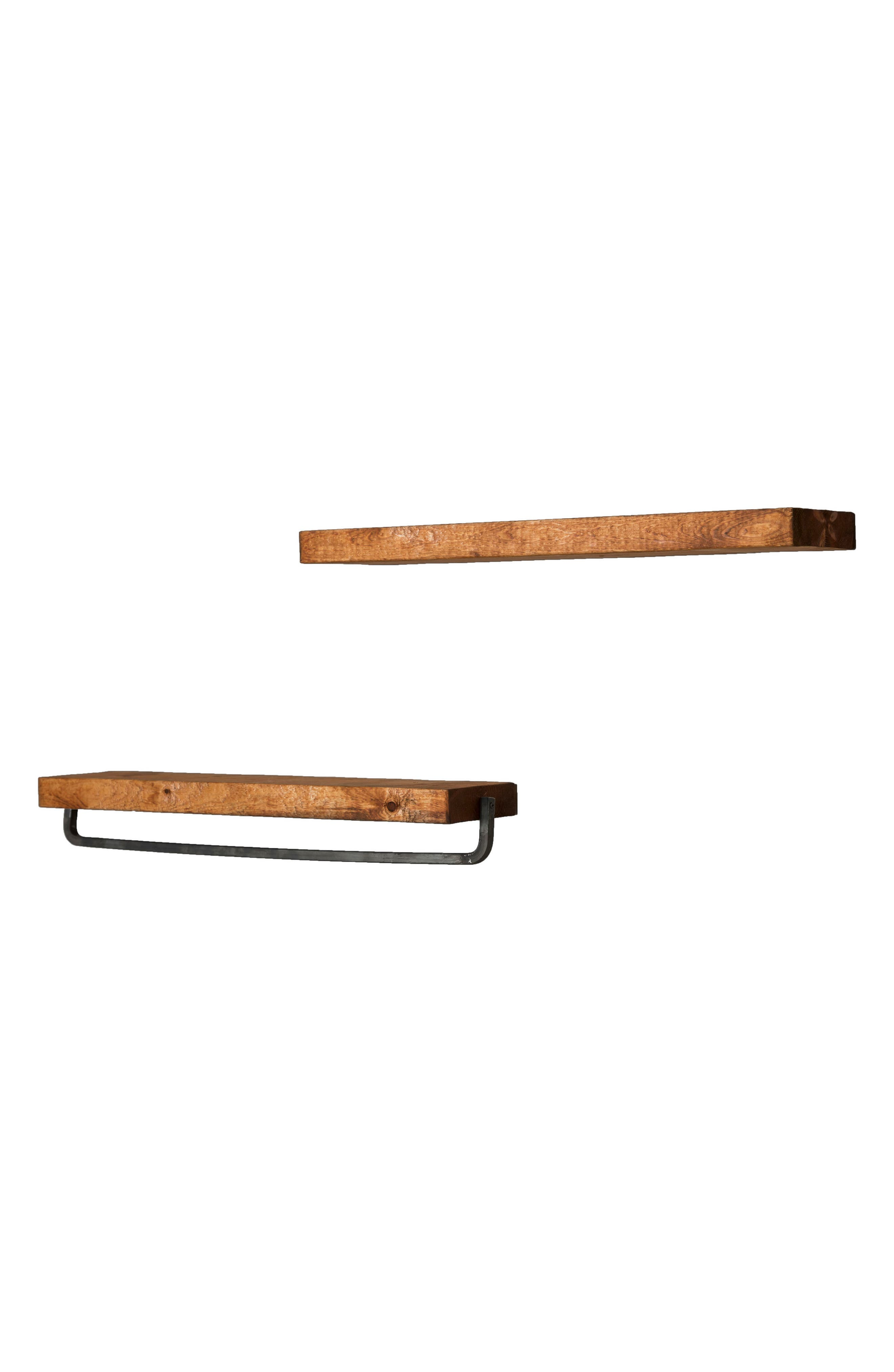 Set of 2 Floating Shelves with Towel Rack,                             Alternate thumbnail 3, color,
