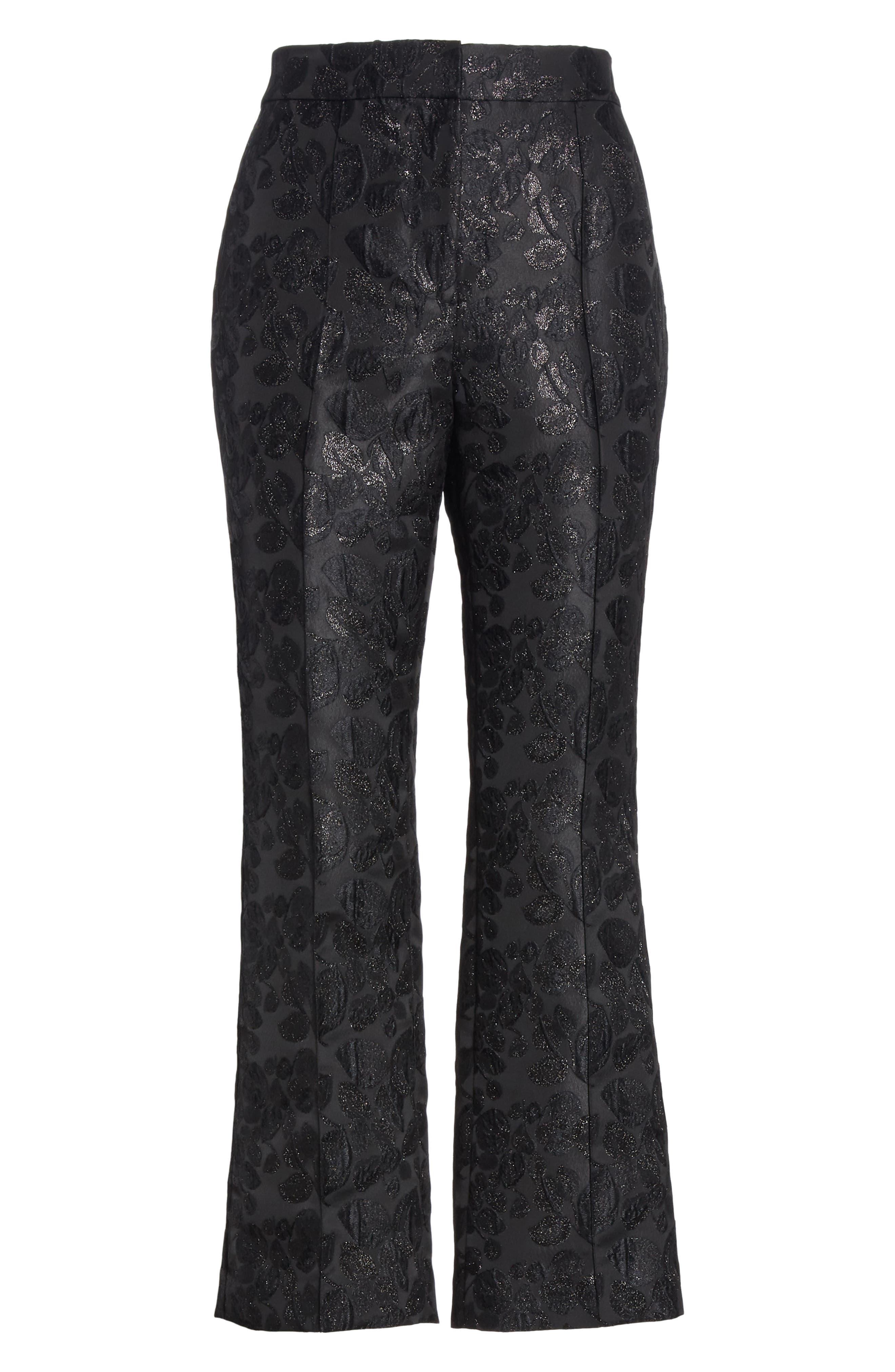 metallic tonal jacquard flare pants,                             Alternate thumbnail 6, color,                             BLACK