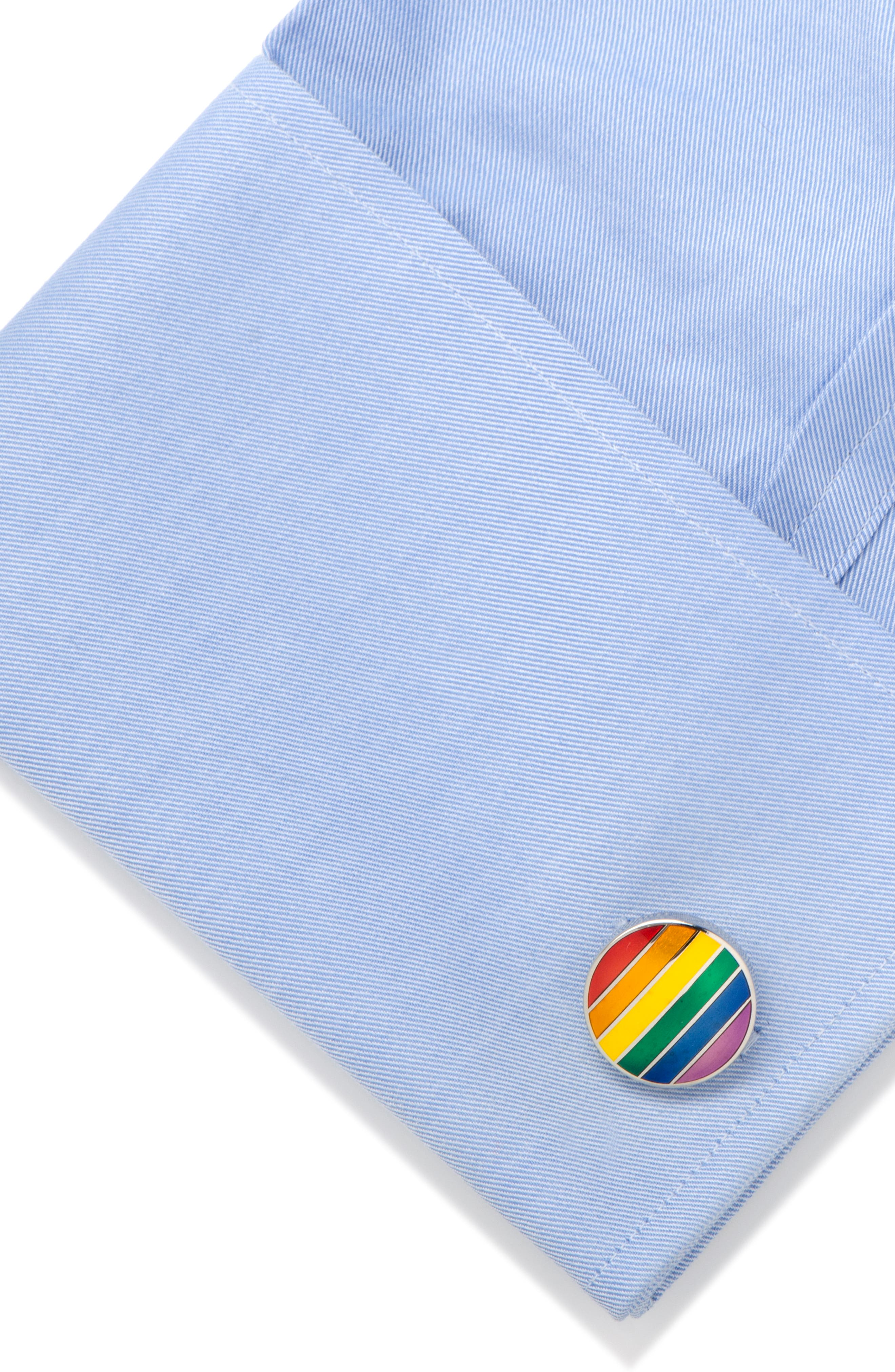 Rainbow Stripe Cuff Links,                             Alternate thumbnail 3, color,                             METALLIC SILVER