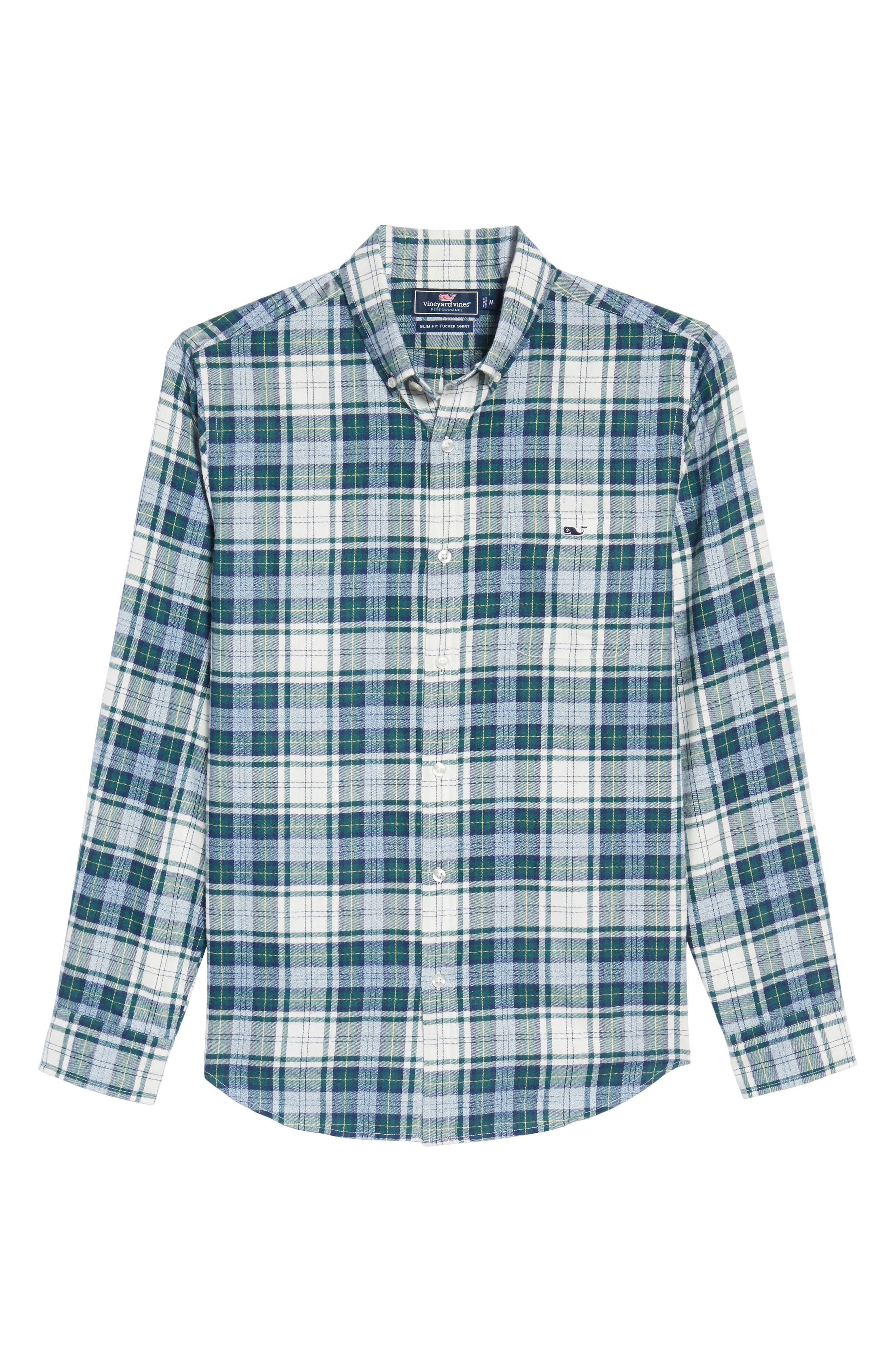 Tucker Hayward Point Slim Fit Plaid Sport Shirt,                             Alternate thumbnail 6, color,                             342
