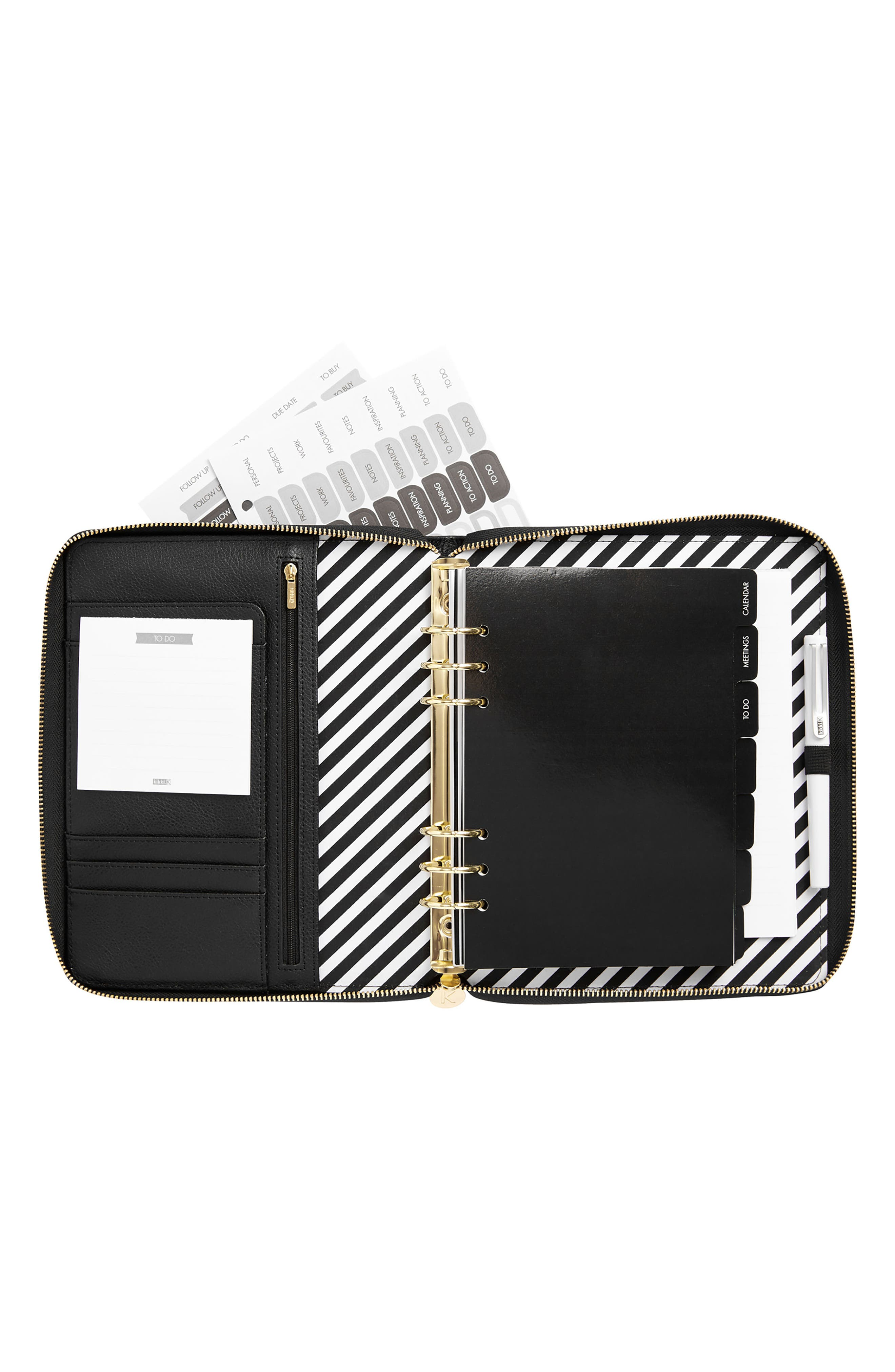 Zip-Around Leather 18-Month Perpetual Planner,                             Alternate thumbnail 4, color,                             JET BLACK LARGE