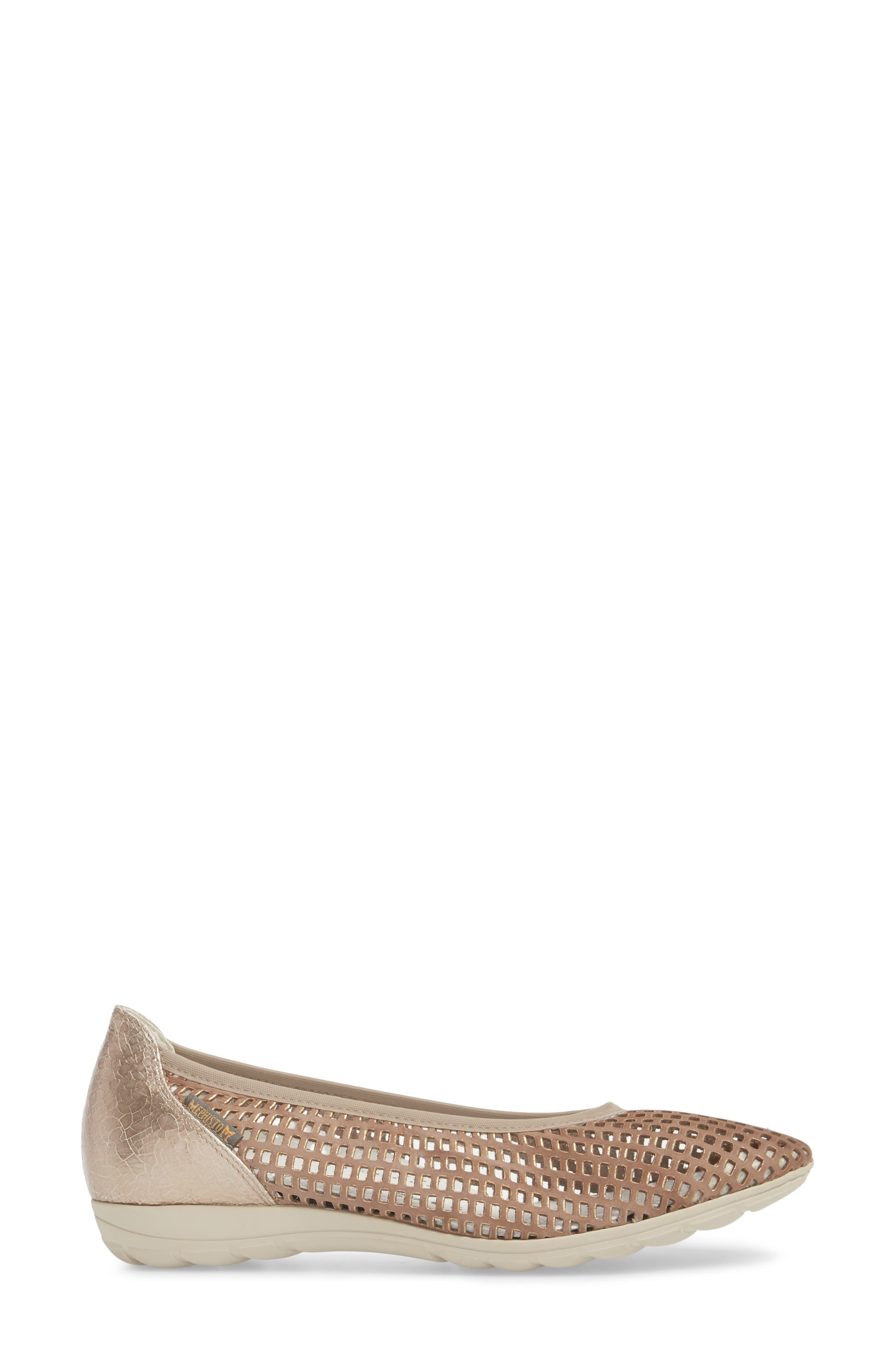 Evelyne Perforated Flat,                             Alternate thumbnail 3, color,                             TAUPE LEATHER