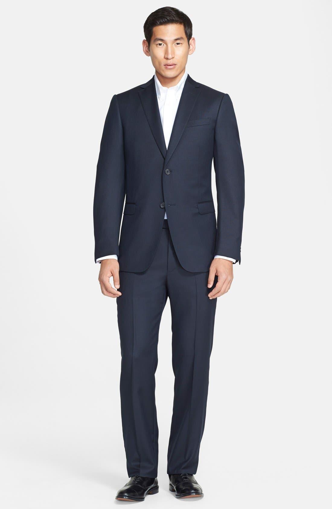 Trim Fit Navy Tic Weave Wool Suit, Main, color, 412