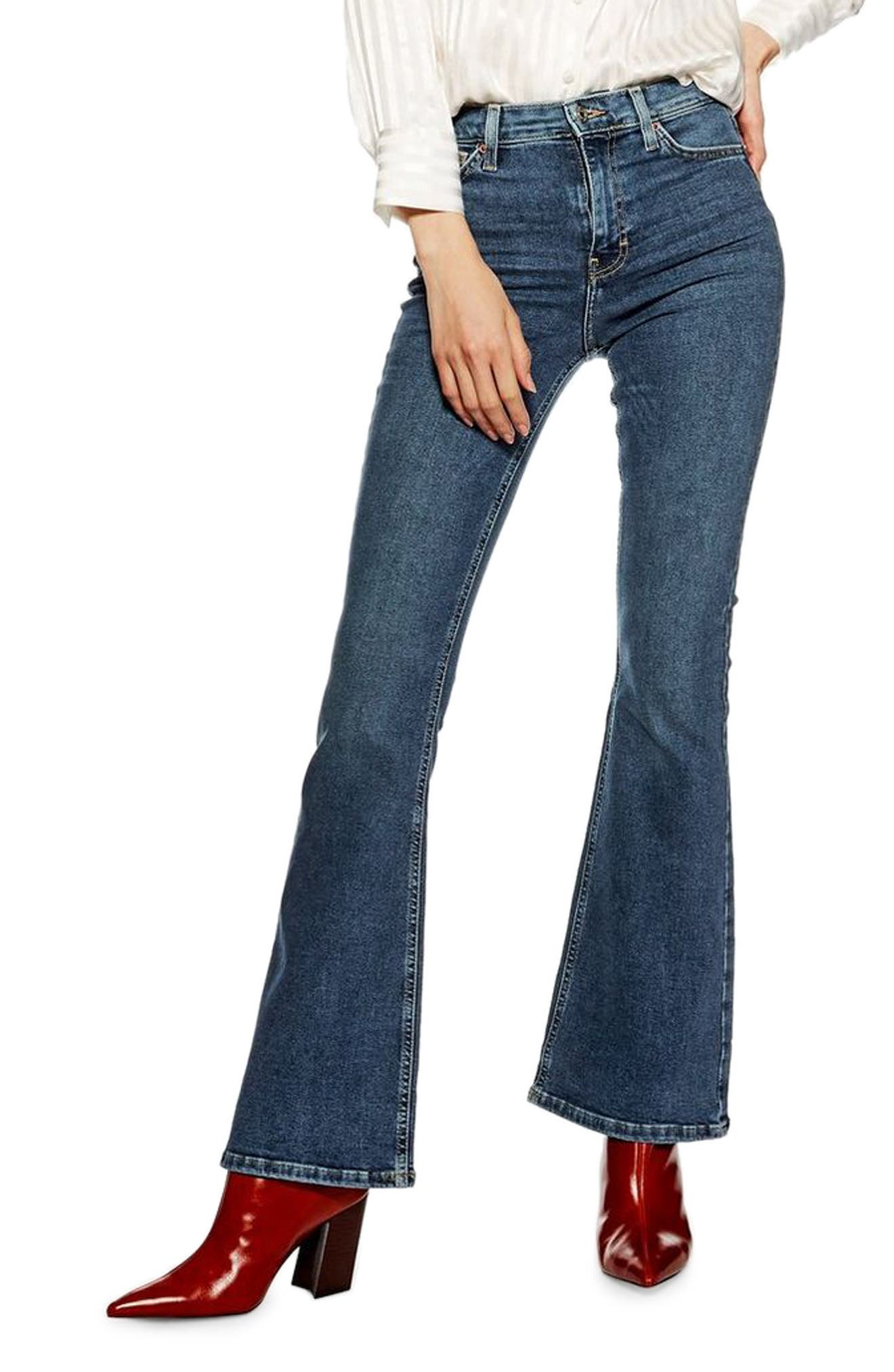 Jamie Flare Hem Jeans, Main, color, 420