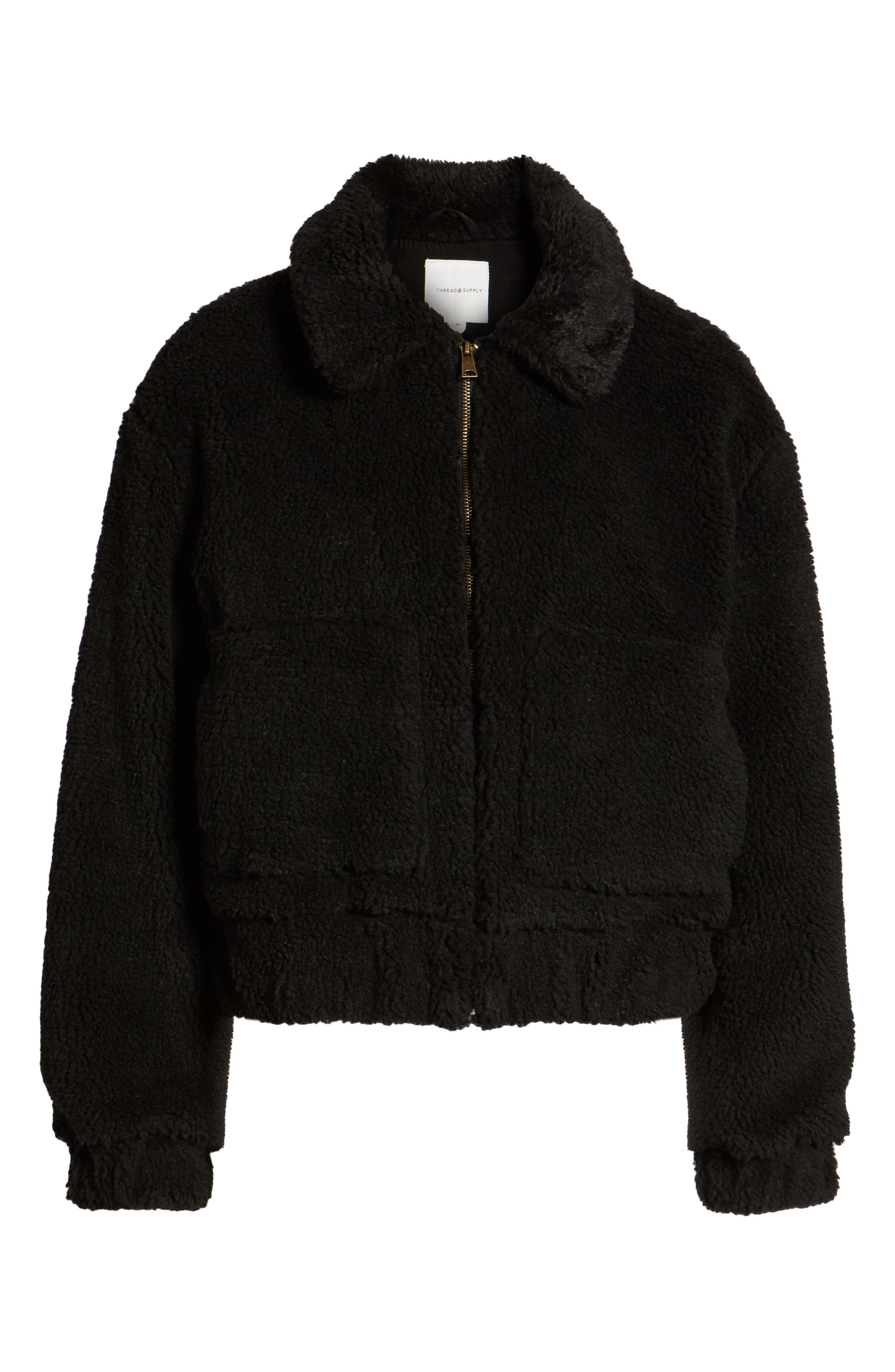 Northy Faux Fur Jacket,                             Alternate thumbnail 6, color,                             BLACK