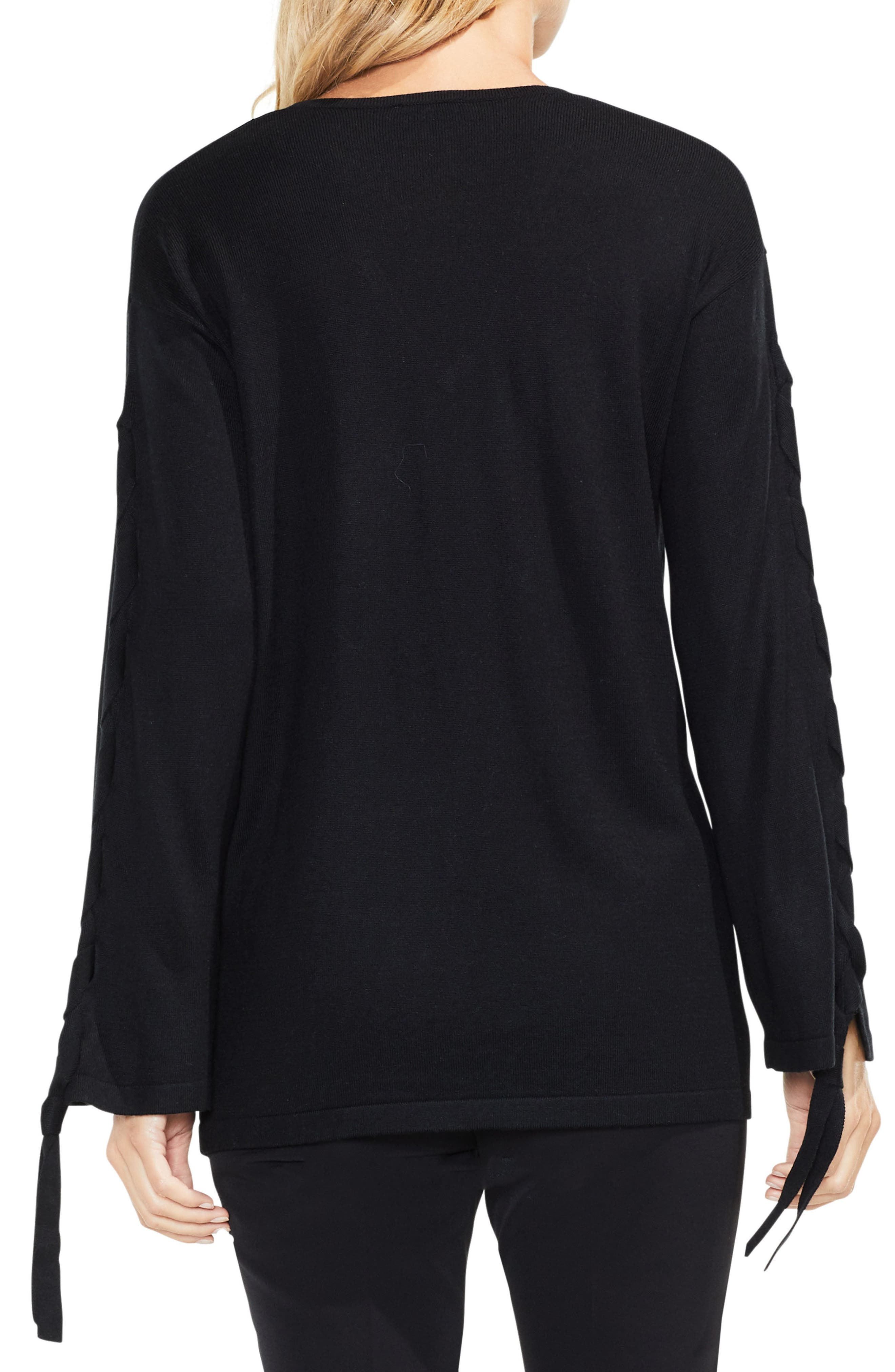 Lace-Up Bell Sleeve Sweater,                             Alternate thumbnail 2, color,                             006