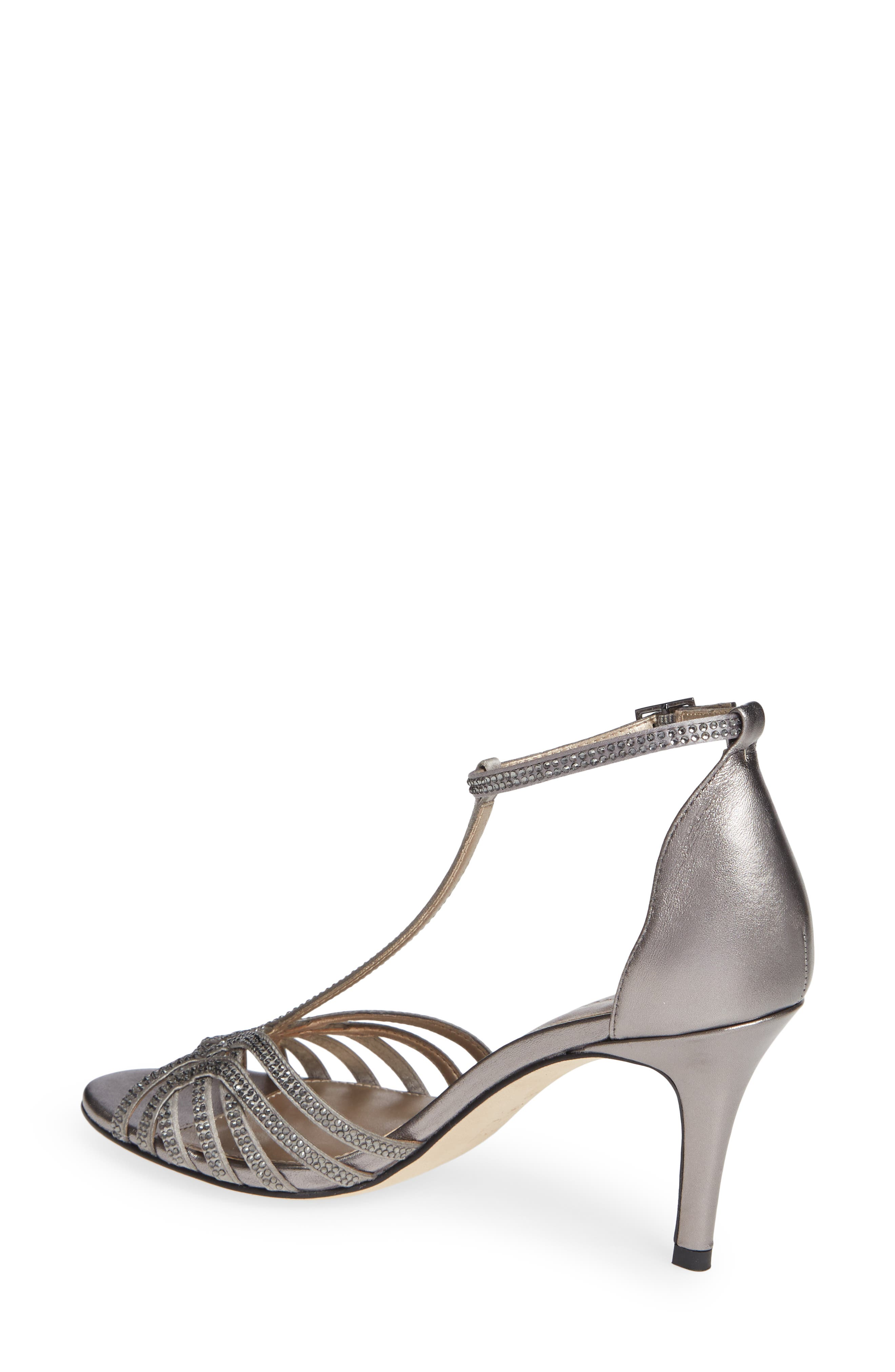 Rochell Crystal Embellished Sandal,                             Alternate thumbnail 2, color,                             PEWTER FABRIC