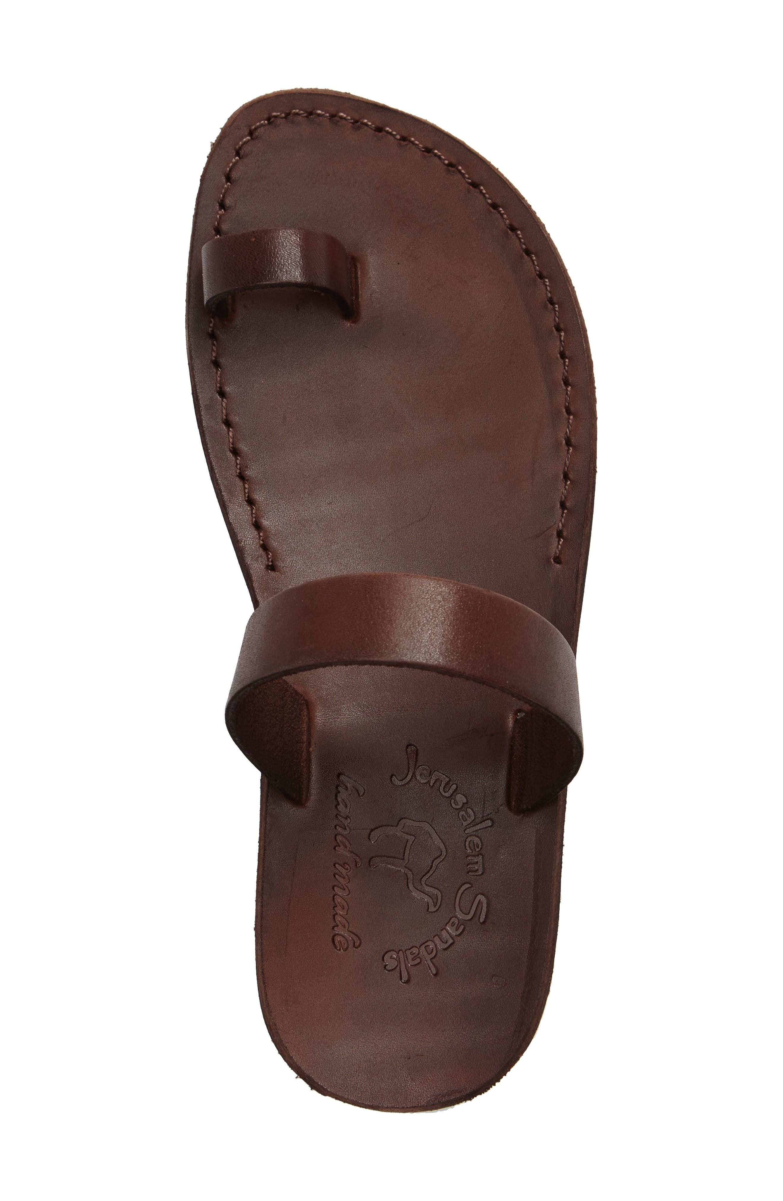Eden Toe Loop Sandal,                             Alternate thumbnail 3, color,                             BROWN LEATHER