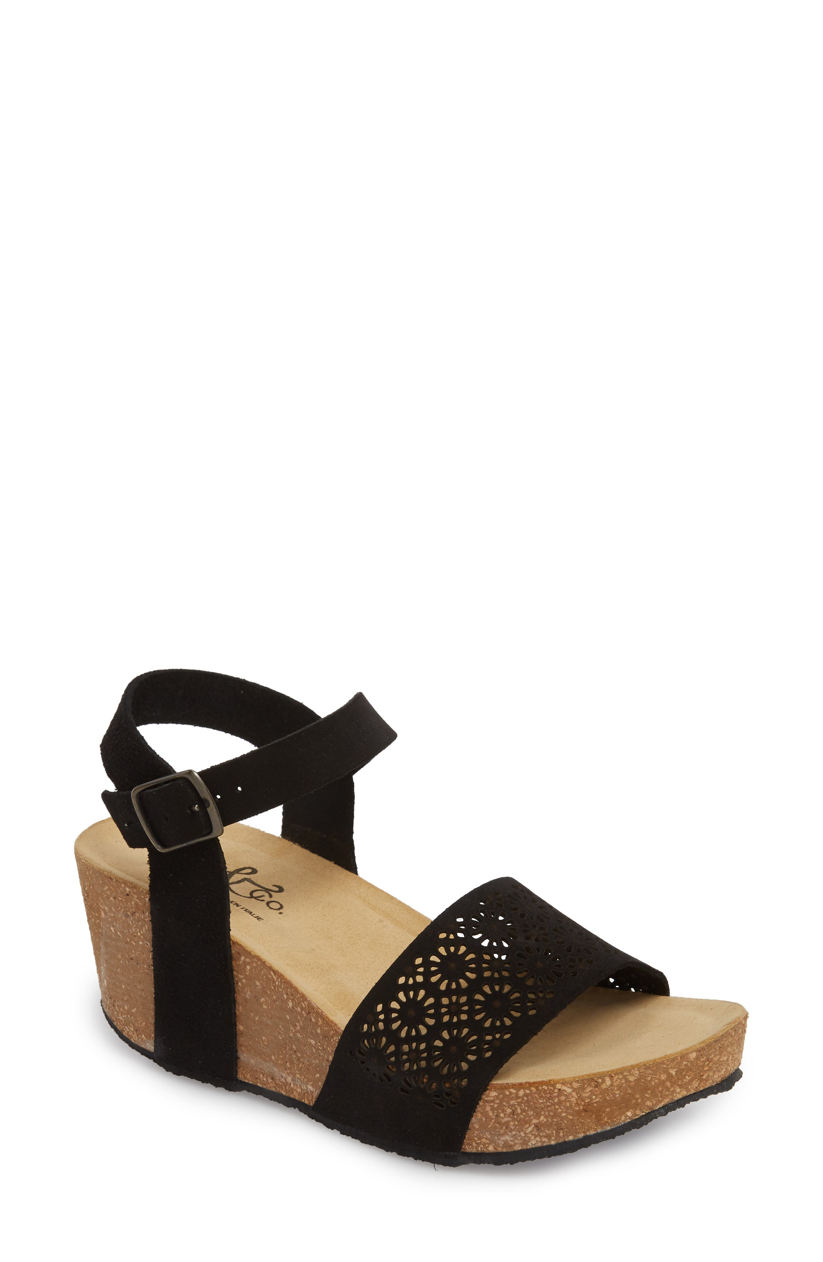 Lolo Platform Wedge Sandal,                         Main,                         color, BLACK SUEDE