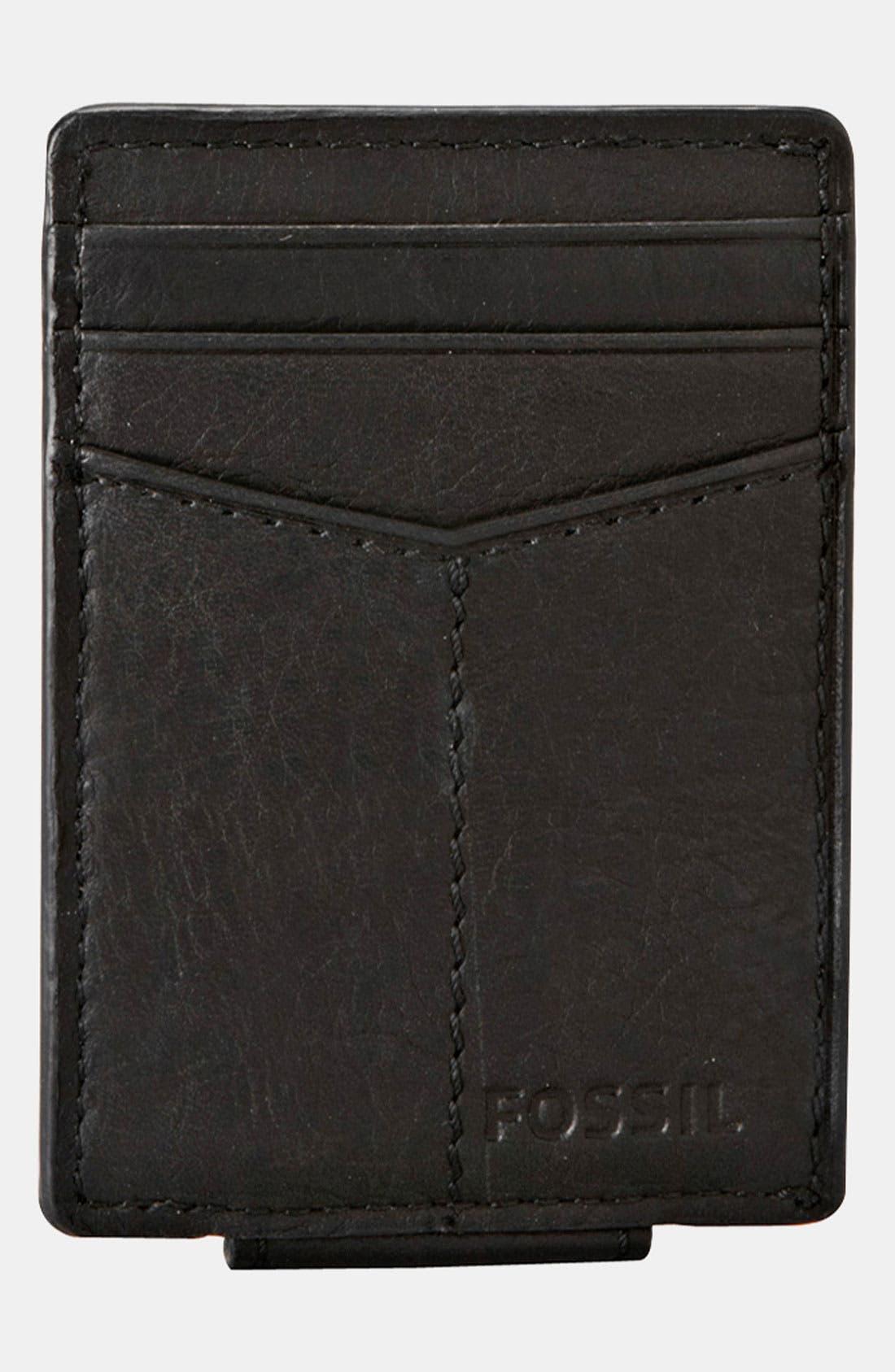 'Ingram' Leather Magnetic Money Clip Card Case,                             Alternate thumbnail 2, color,                             001