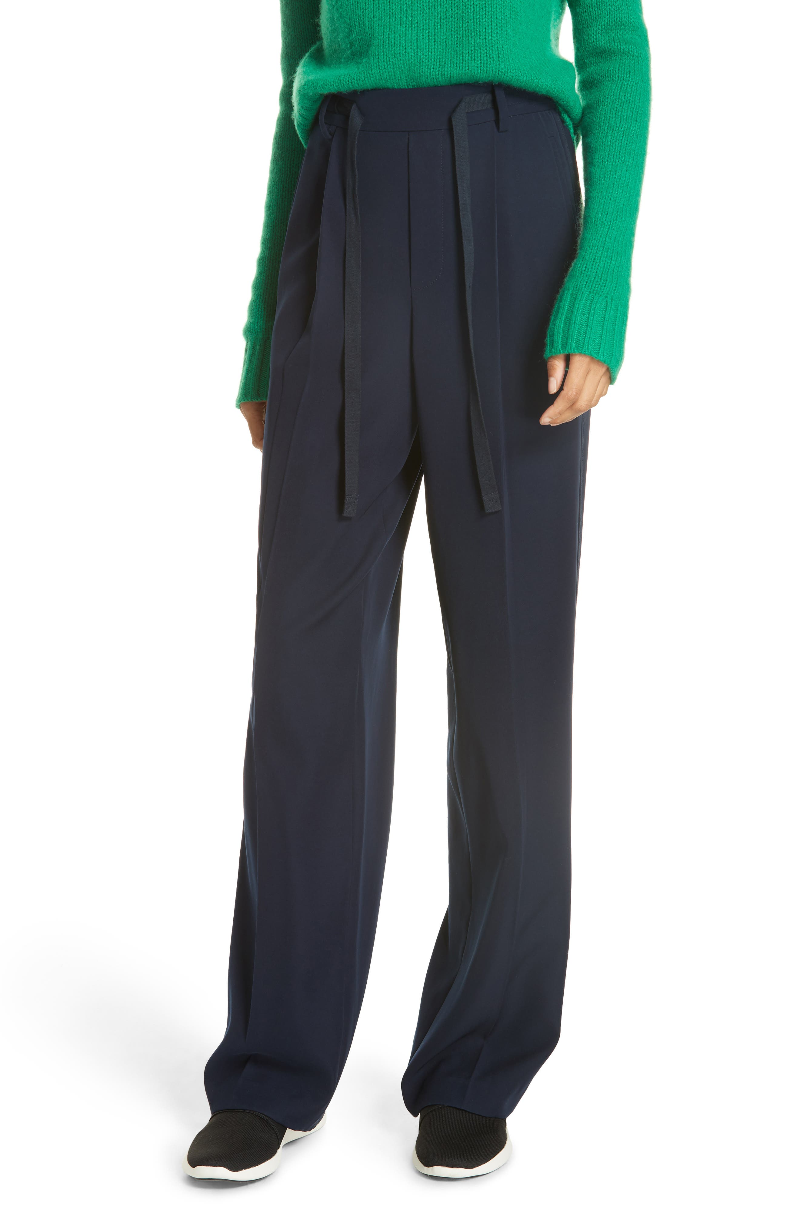 Wide Leg Pull-On Pants,                         Main,                         color, NAVY