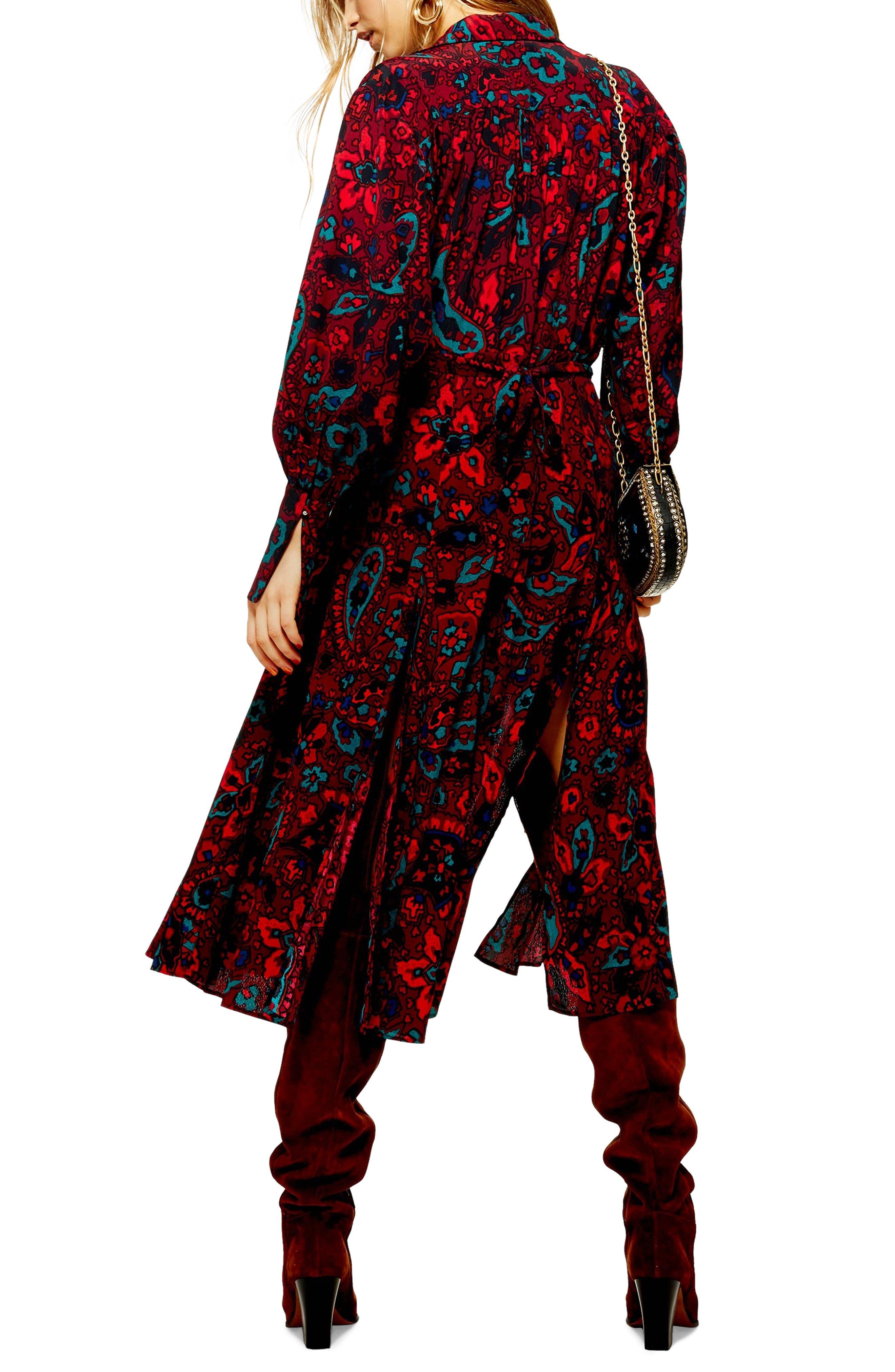 Paisley Oversize Shirtdress,                             Alternate thumbnail 2, color,                             RED MULTI